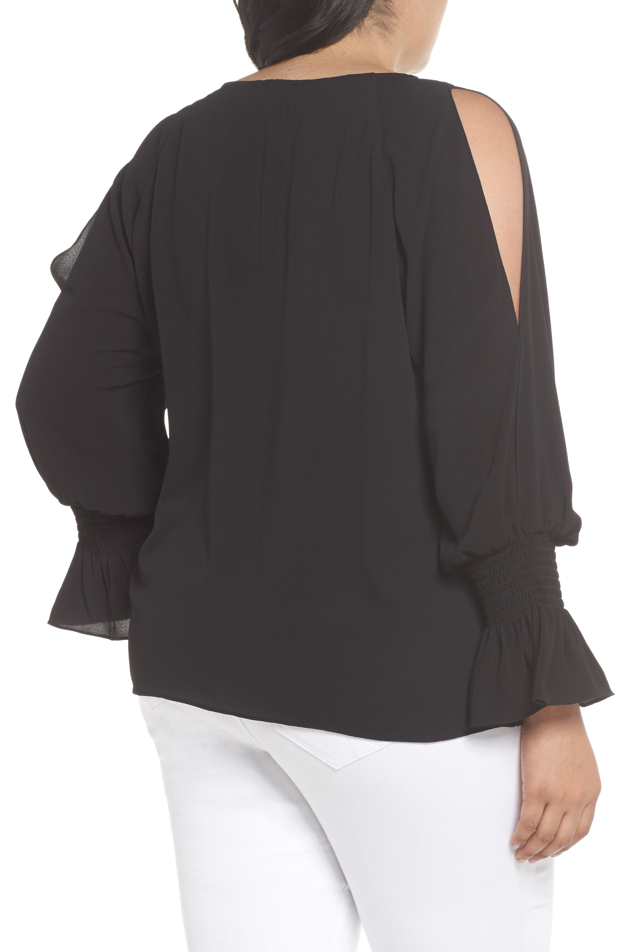 Cold Shoulder Flare Cuff Top,                             Alternate thumbnail 2, color,                             001