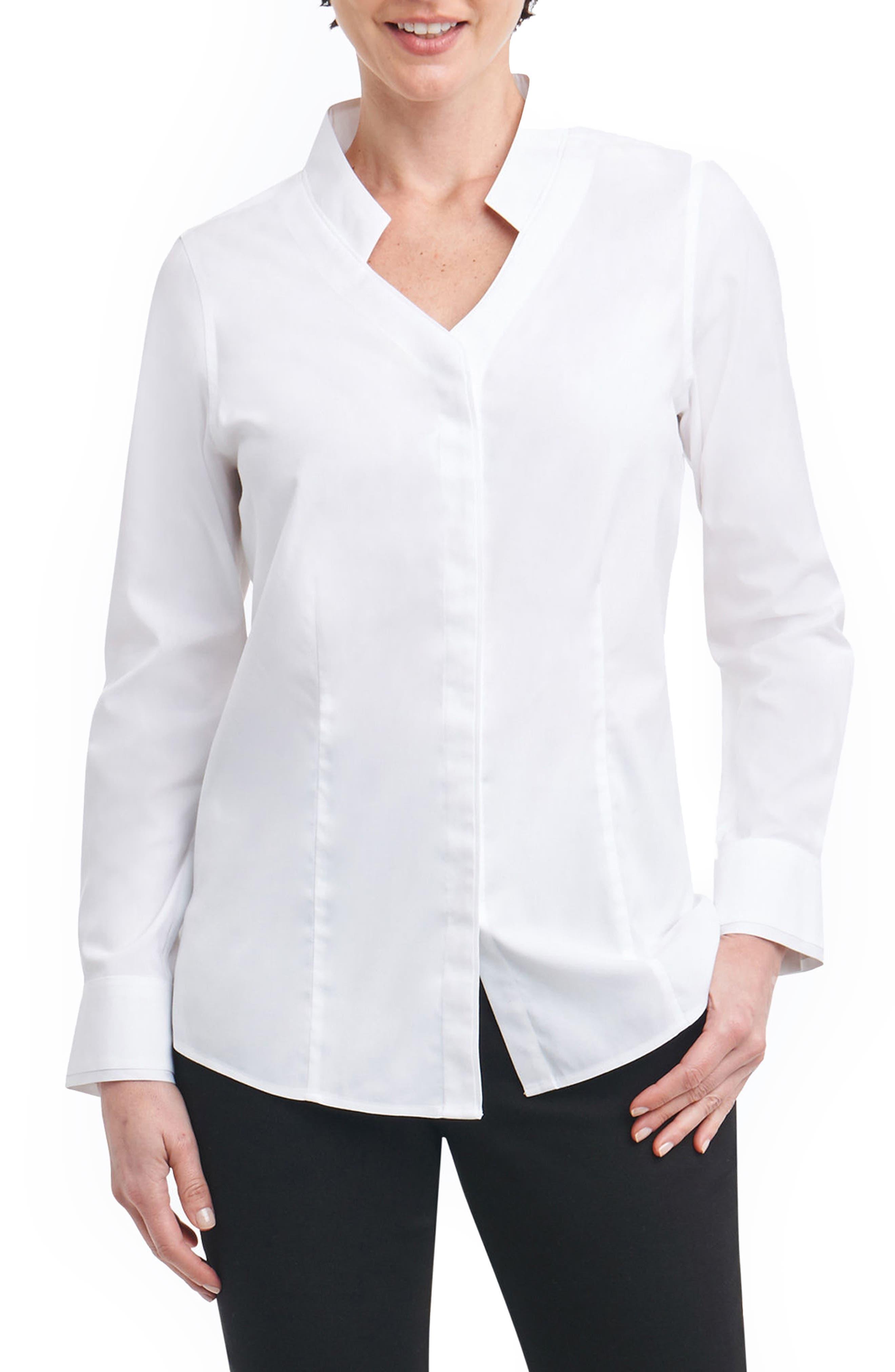 Jewel Stretch Cotton Shirt,                             Main thumbnail 1, color,                             100