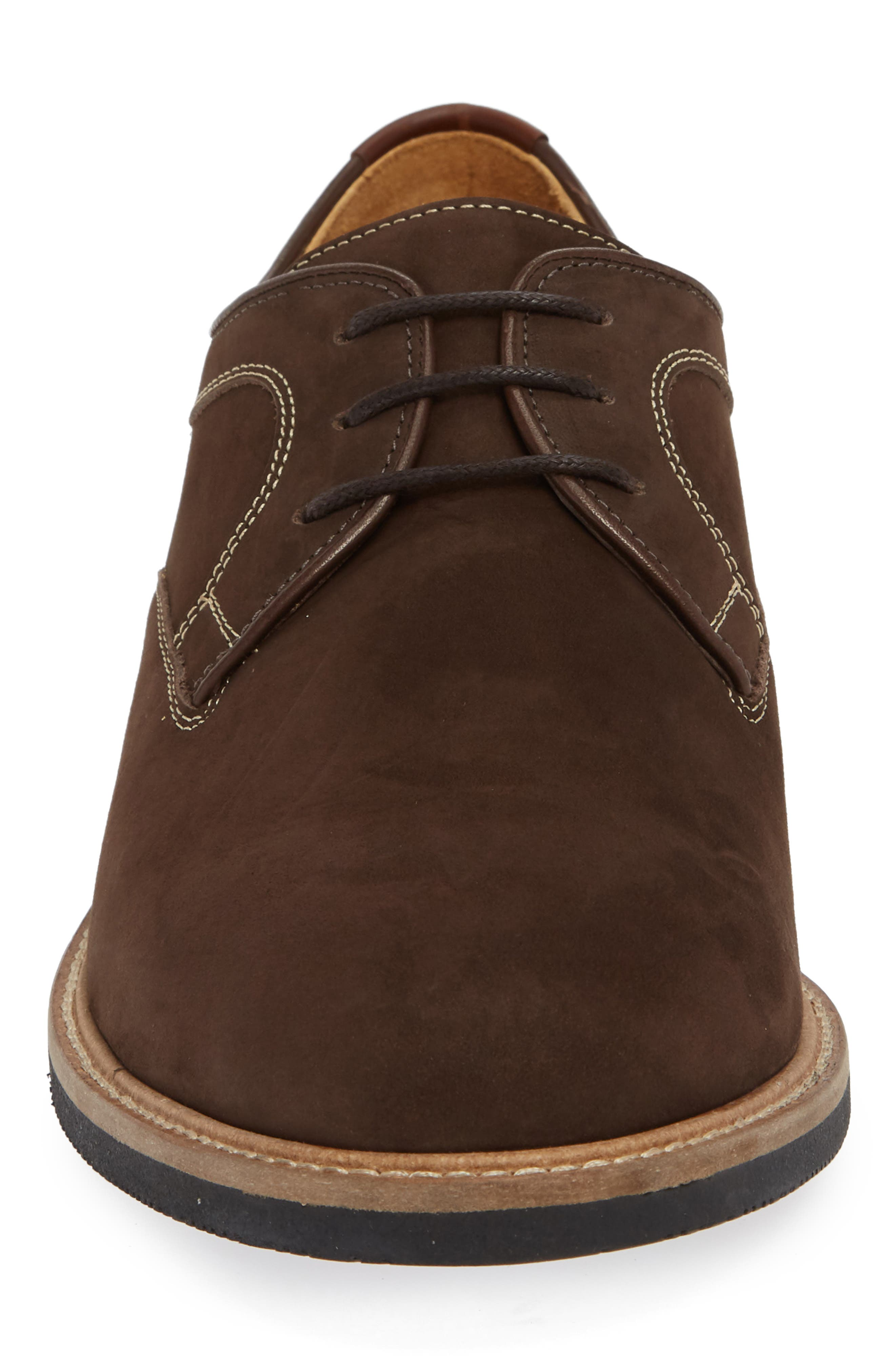 JOHNSTON & MURPHY,                             Barlow Plain Toe Derby,                             Alternate thumbnail 4, color,                             CHOCOLATE NUBUCK