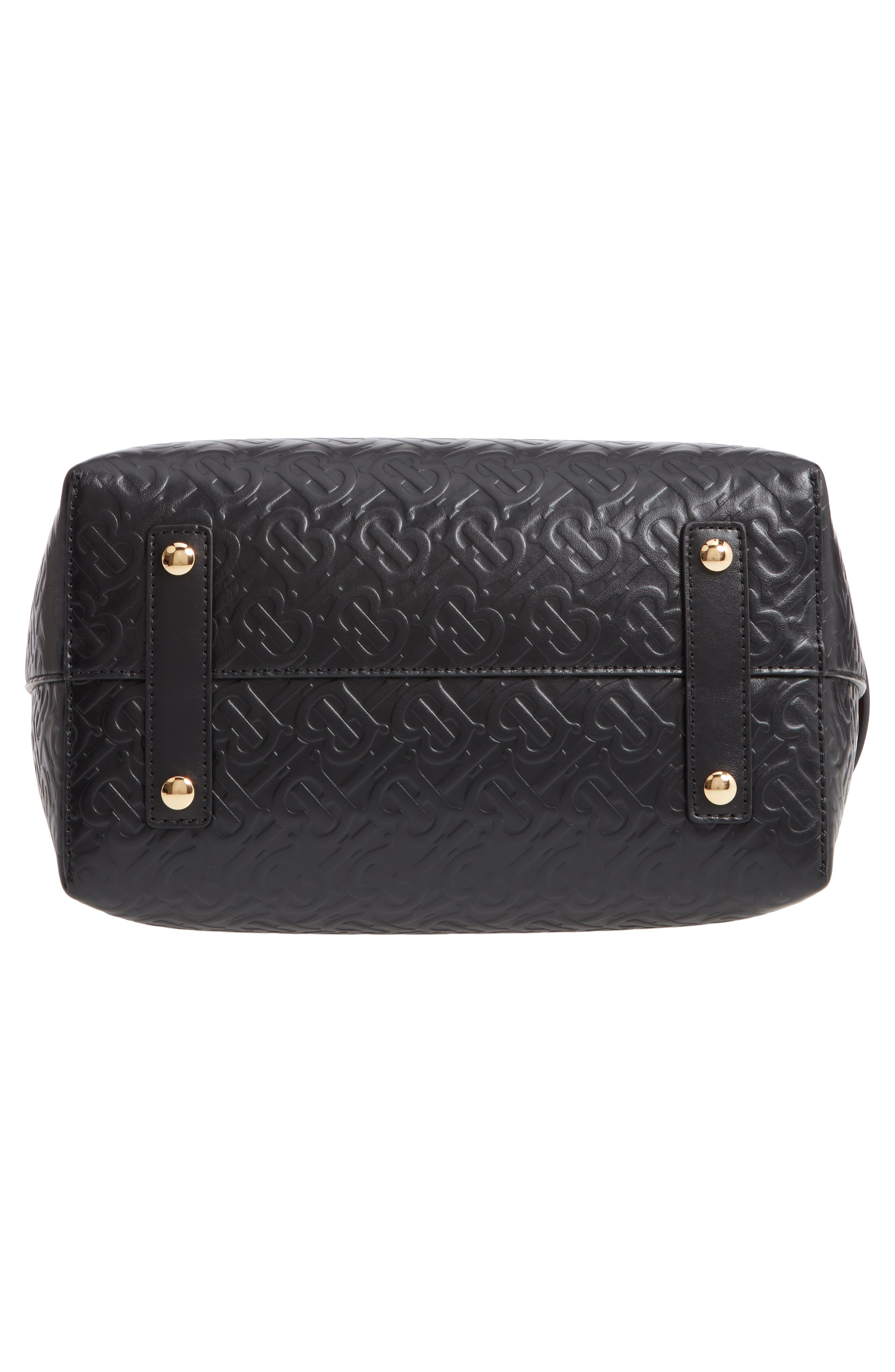 BURBERRY,                             Small Belt Embossed Logo Leather Satchel,                             Alternate thumbnail 6, color,                             BLACK