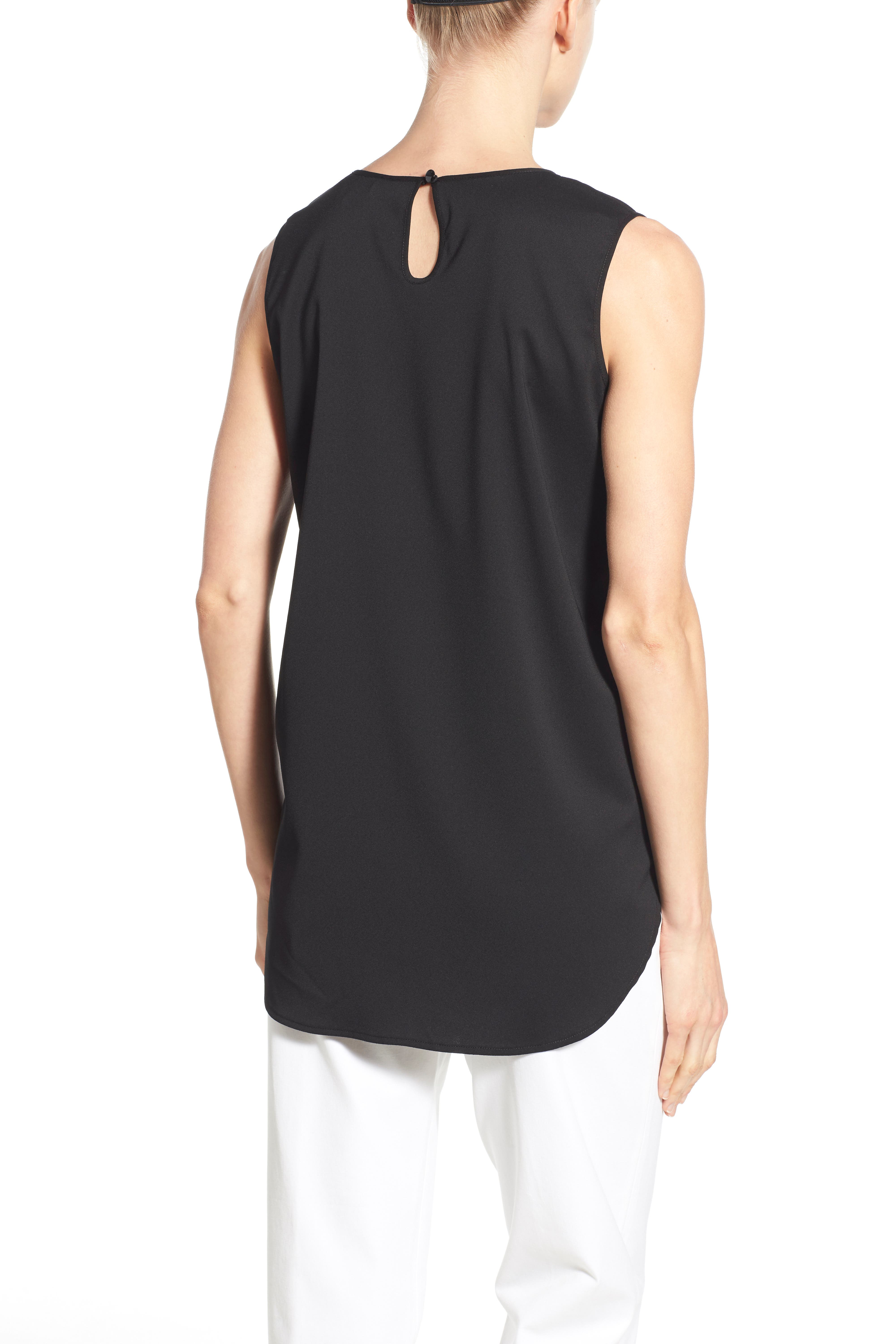 Sleeveless Woven Shell,                             Alternate thumbnail 2, color,                             BLACK