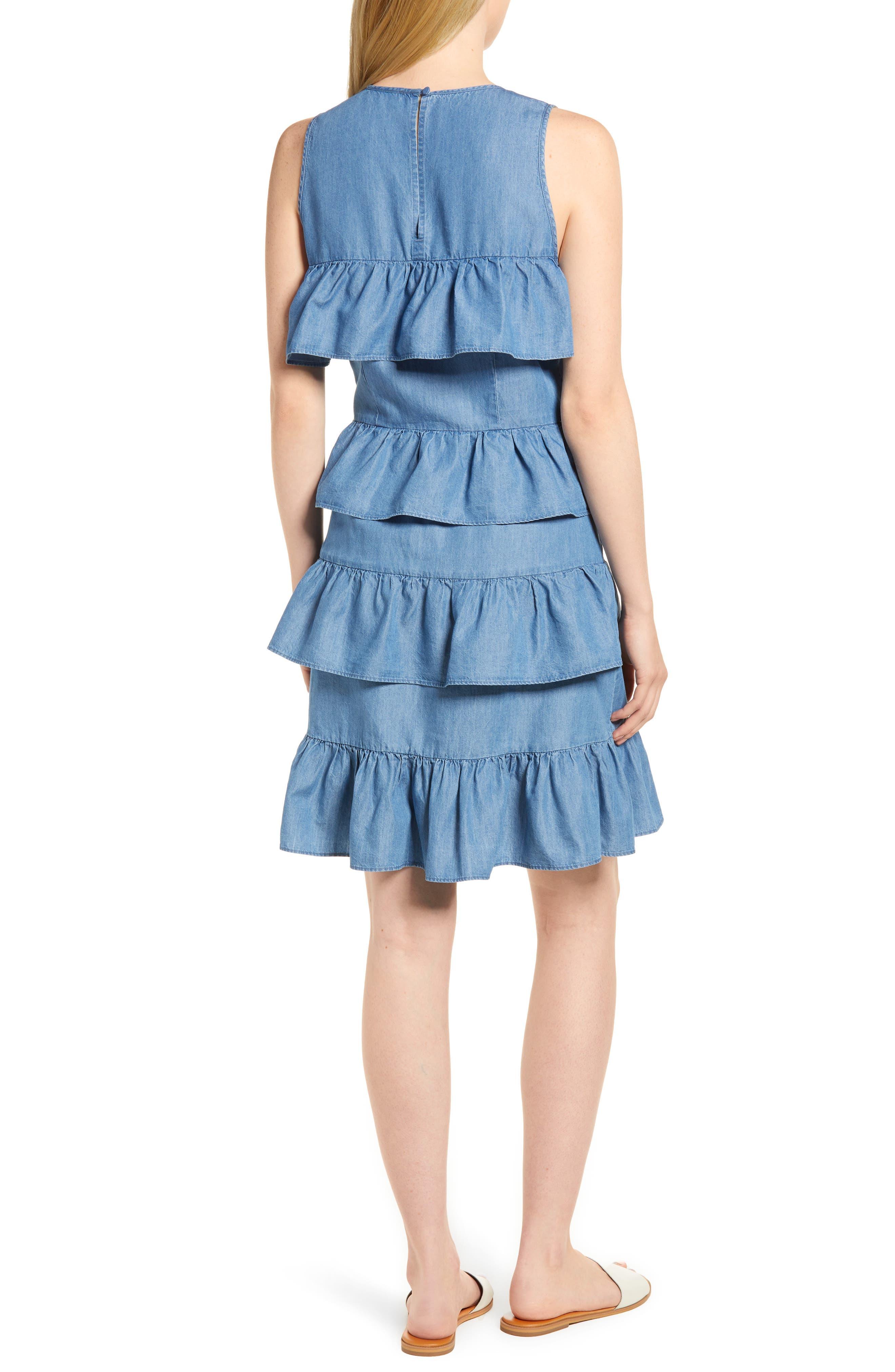 Chambray Flounce Dress,                             Alternate thumbnail 2, color,                             401