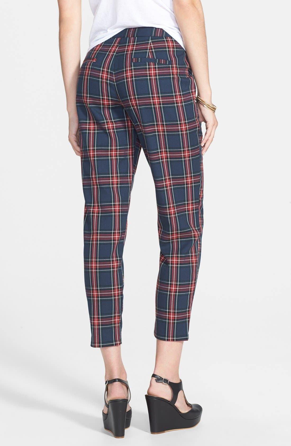 Plaid Crop Pants,                             Alternate thumbnail 3, color,                             400