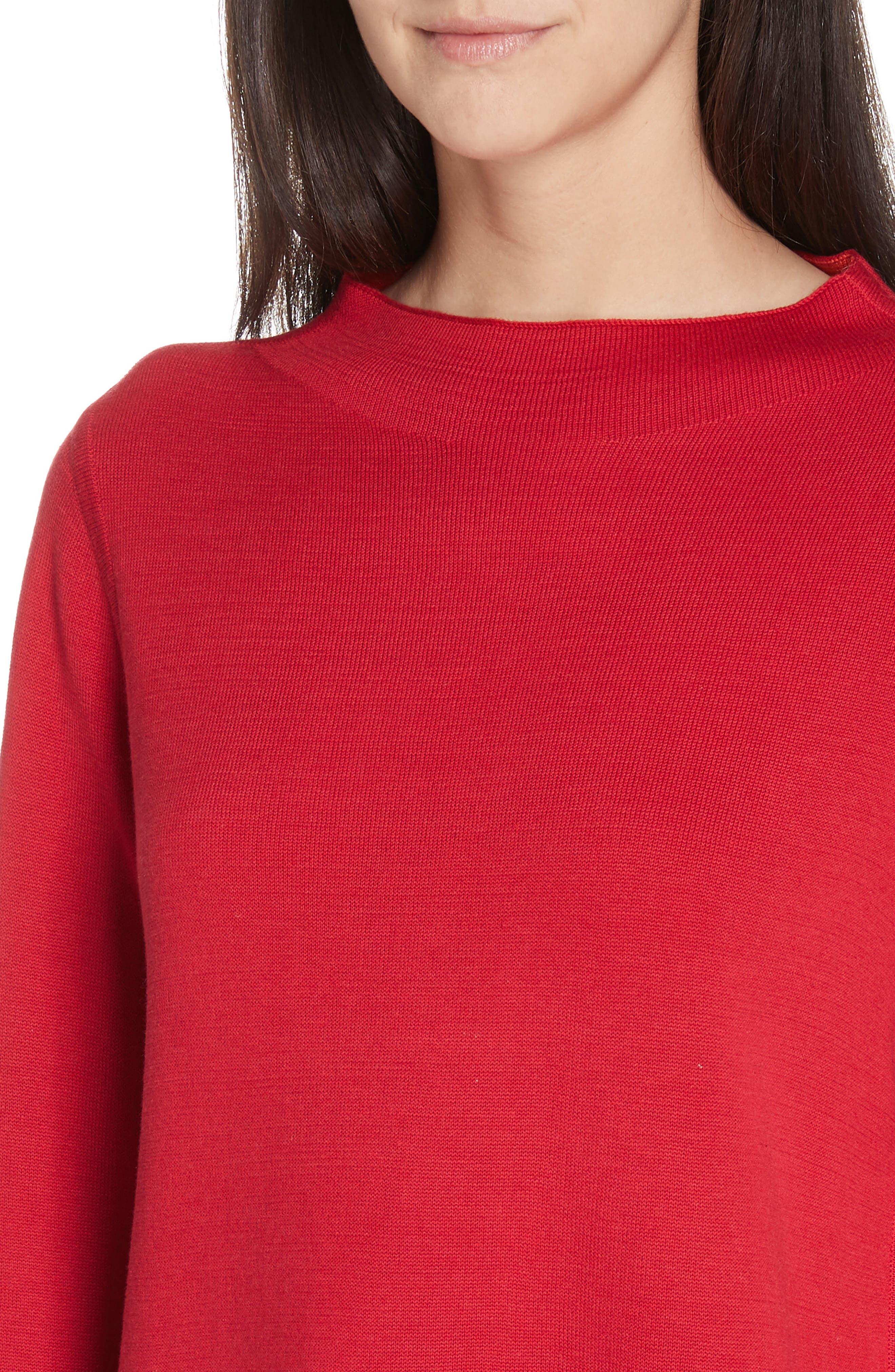 EILEEN FISHER, Reversilble Silk Blend Sweater, Alternate thumbnail 5, color, LACQUER