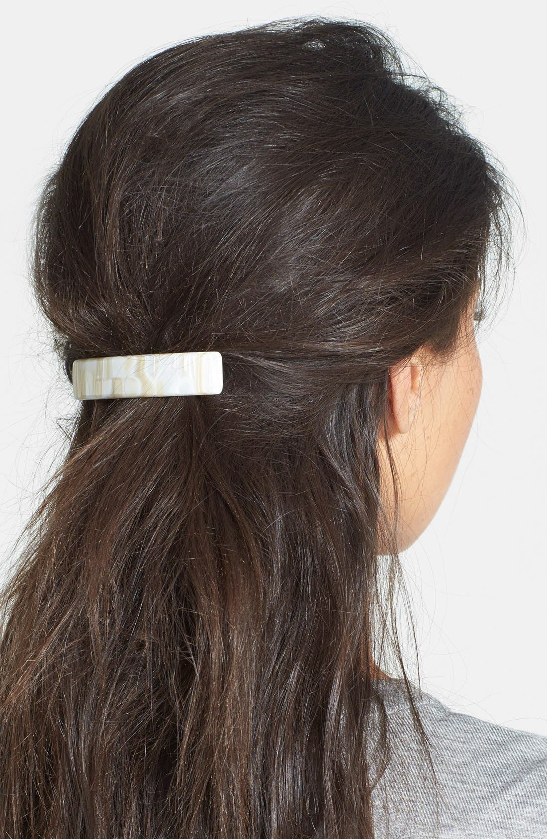 THE FINEST ACCESSORIES Mottled Classic Rectangle Barrette in Rust