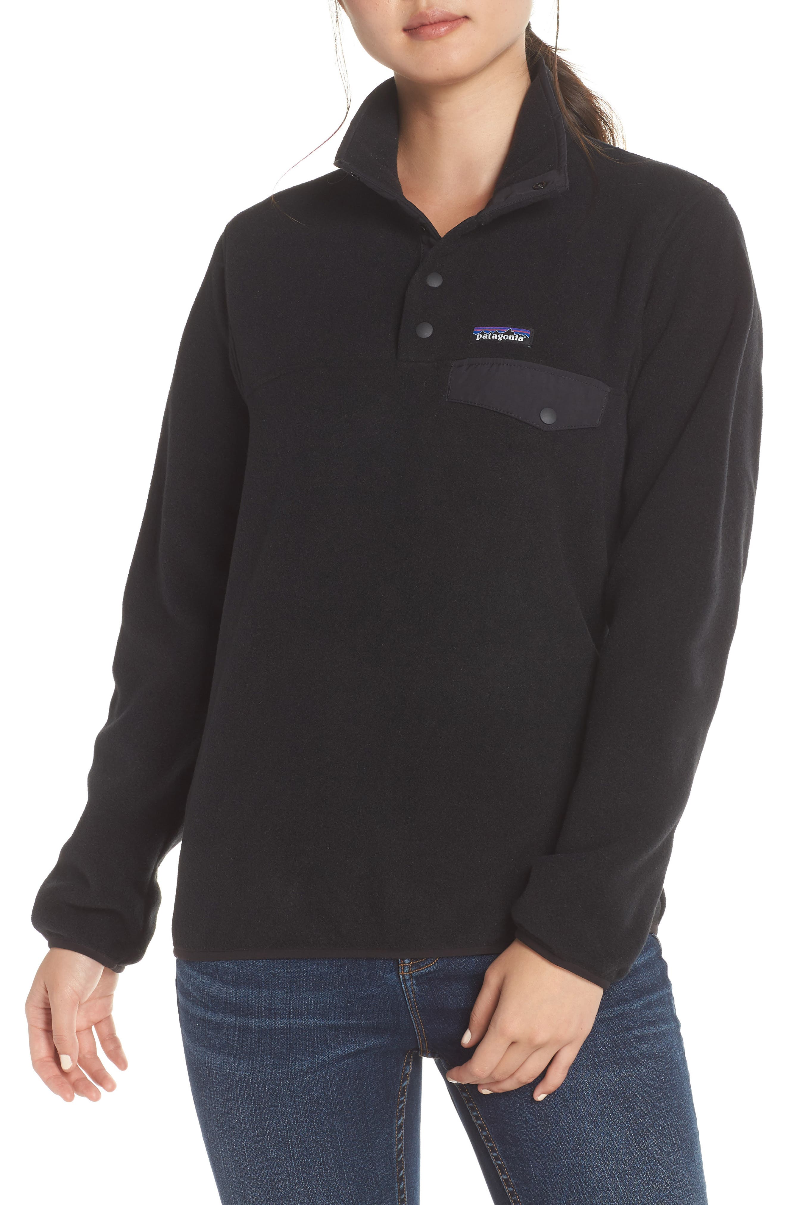 PATAGONIA,                             Synchilla Snap-T<sup>®</sup> Fleece Pullover,                             Main thumbnail 1, color,                             BLACK W/ BLACK