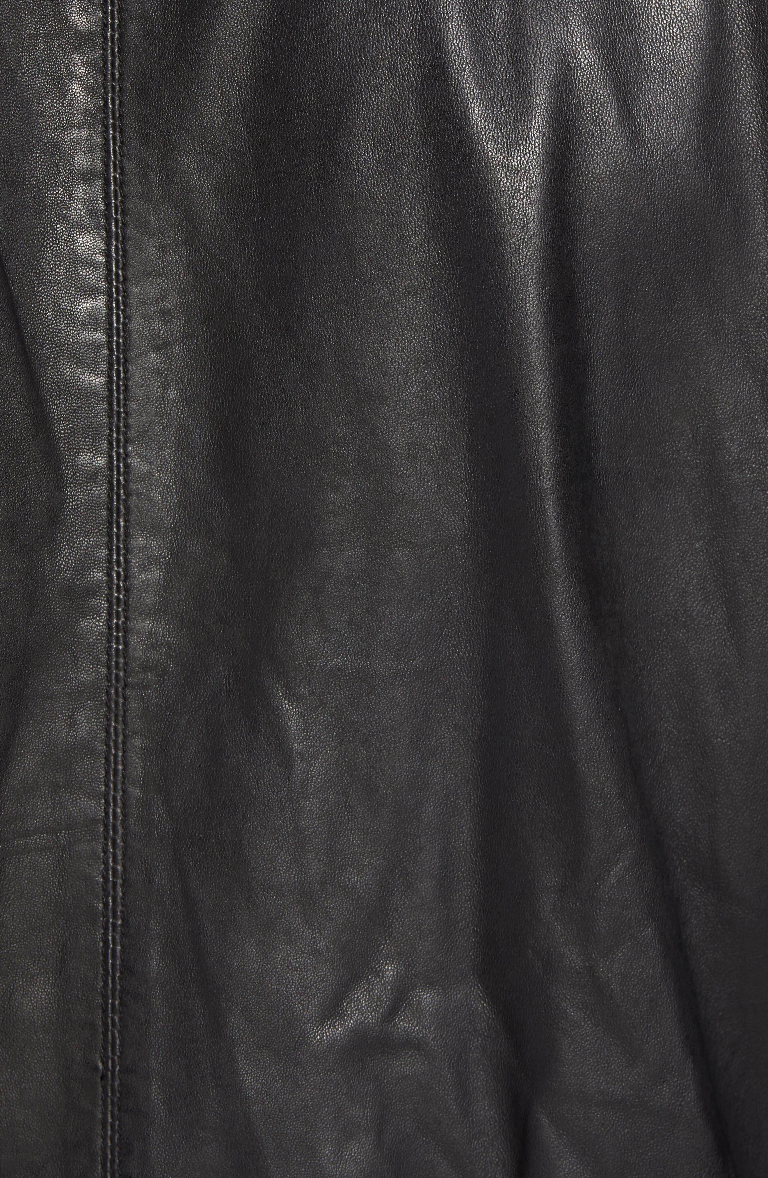 Hudson Leather Bomber Jacket,                             Alternate thumbnail 6, color,                             001
