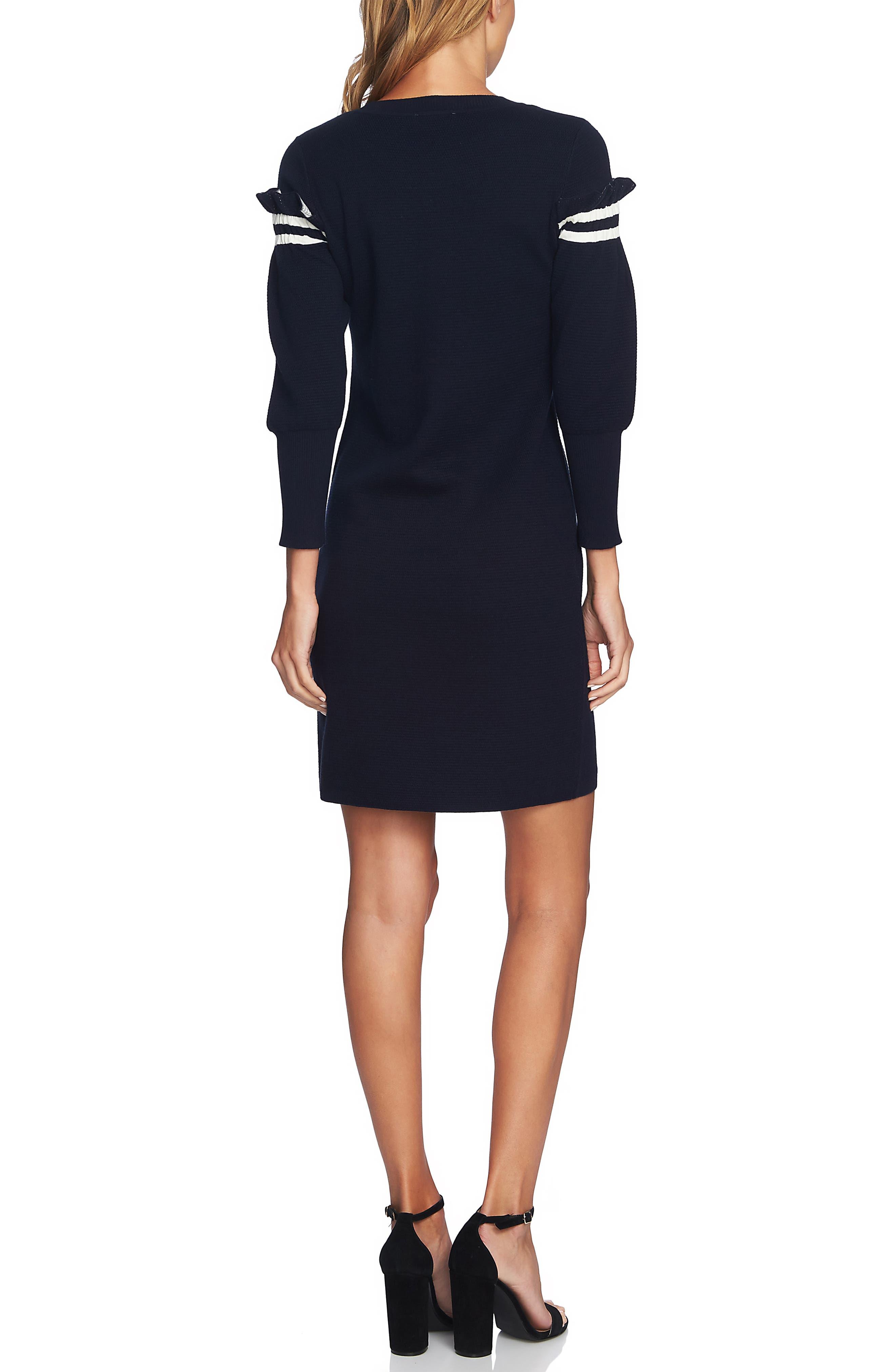 Puffed Sleeve Sweater Dress,                             Alternate thumbnail 2, color,                             CAVIAR