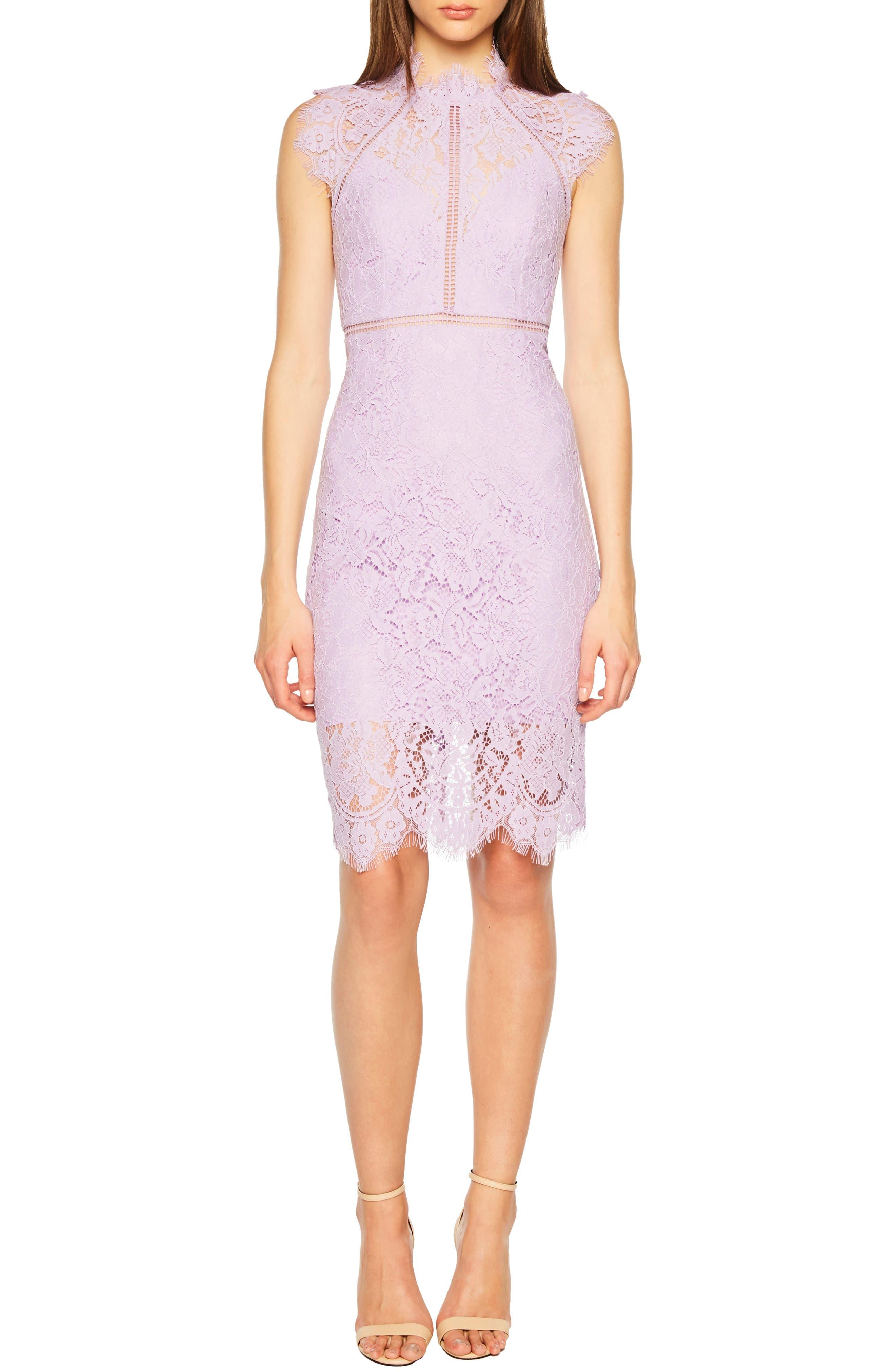 Bardot Lace Sheath Dress, Purple