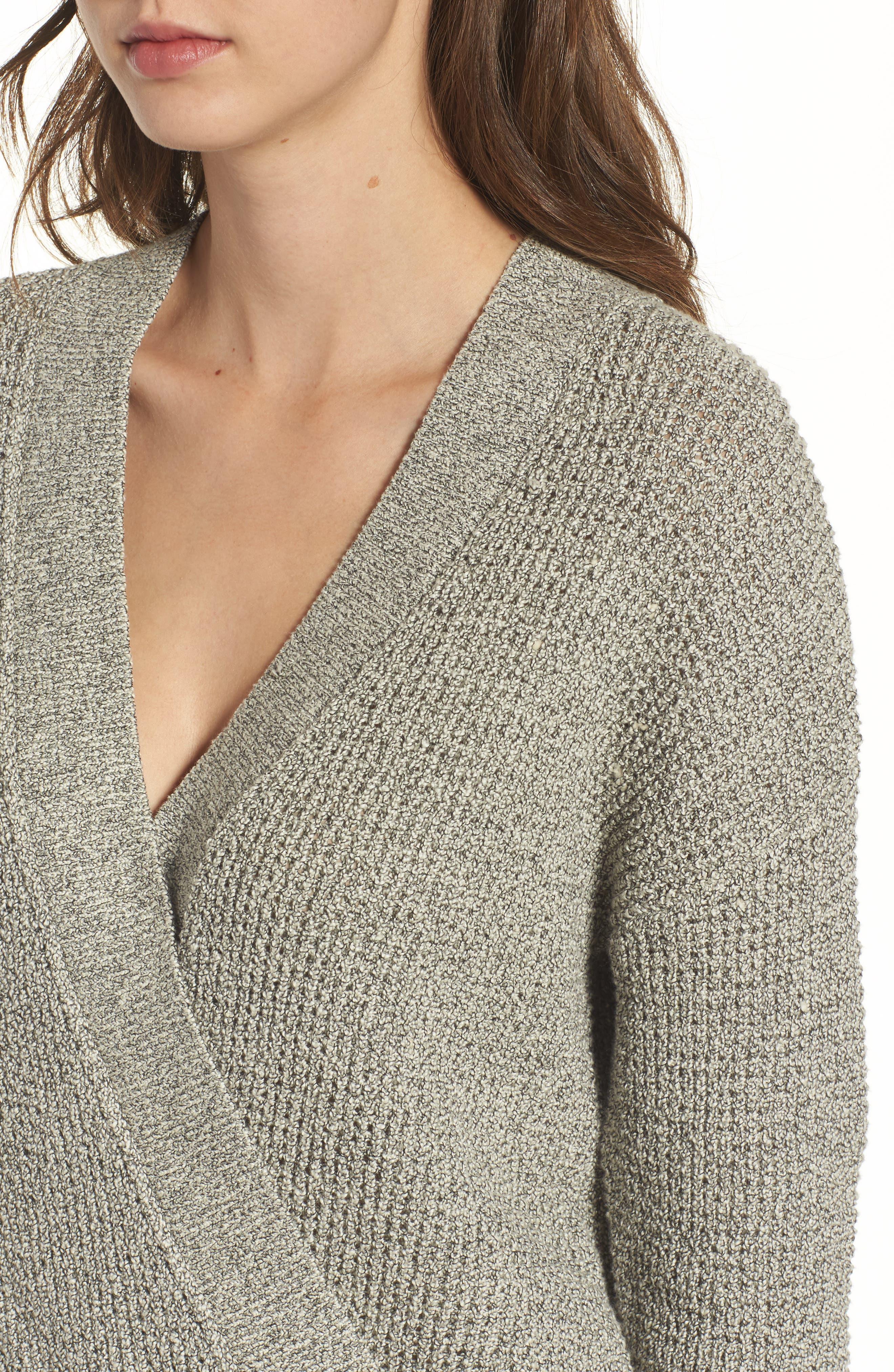 Stephanie Surplice Sweater,                             Alternate thumbnail 4, color,                             HEATHER GREY