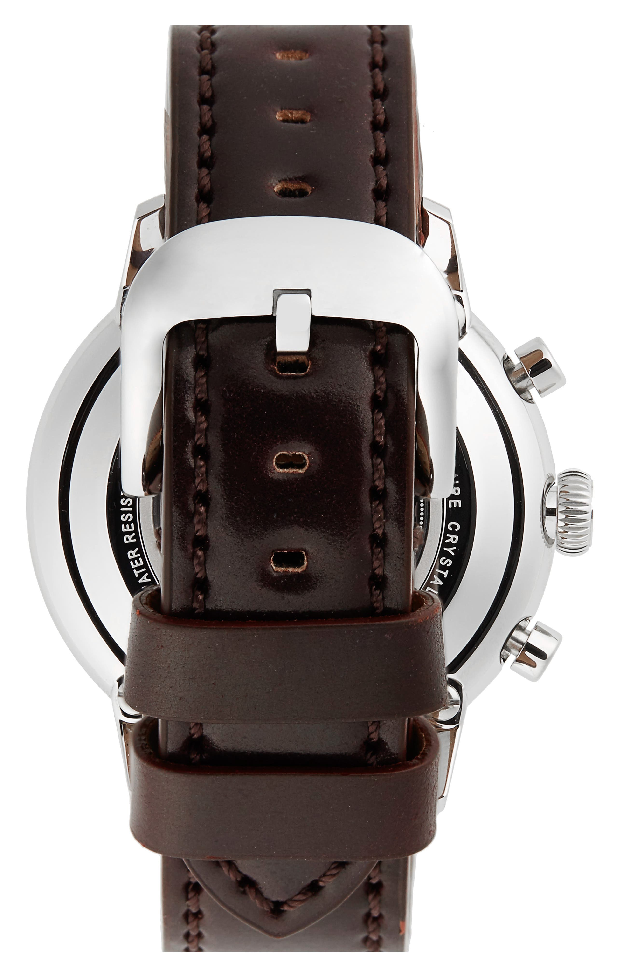 The Bedrock Chronograph Leather Strap Watch, 42mm,                             Alternate thumbnail 2, color,                             BROWN/ MIDNIGHT BLUE/ SILVER
