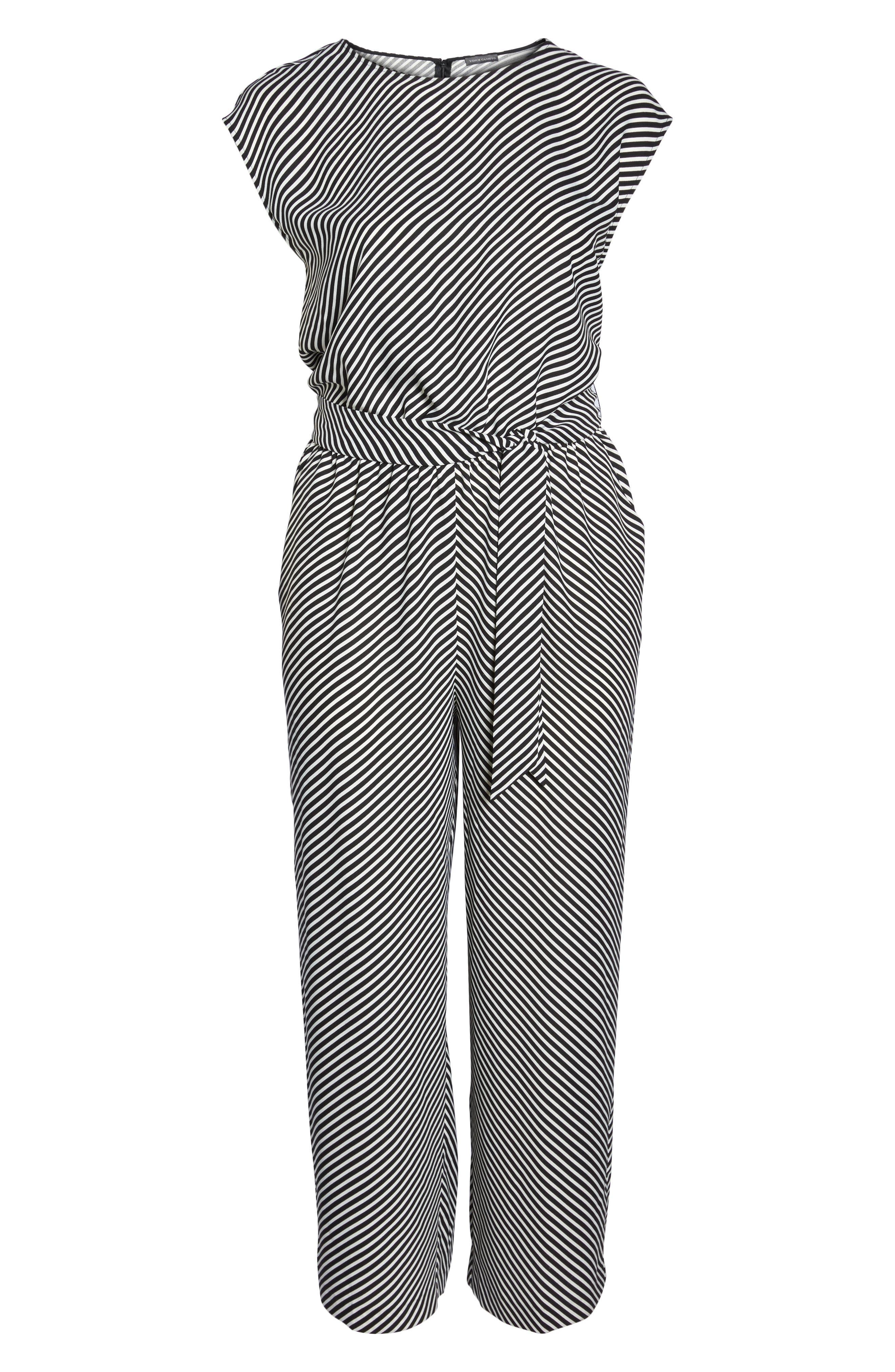 Diagonal Stripe Belted Jumpsuit,                             Alternate thumbnail 6, color,                             006