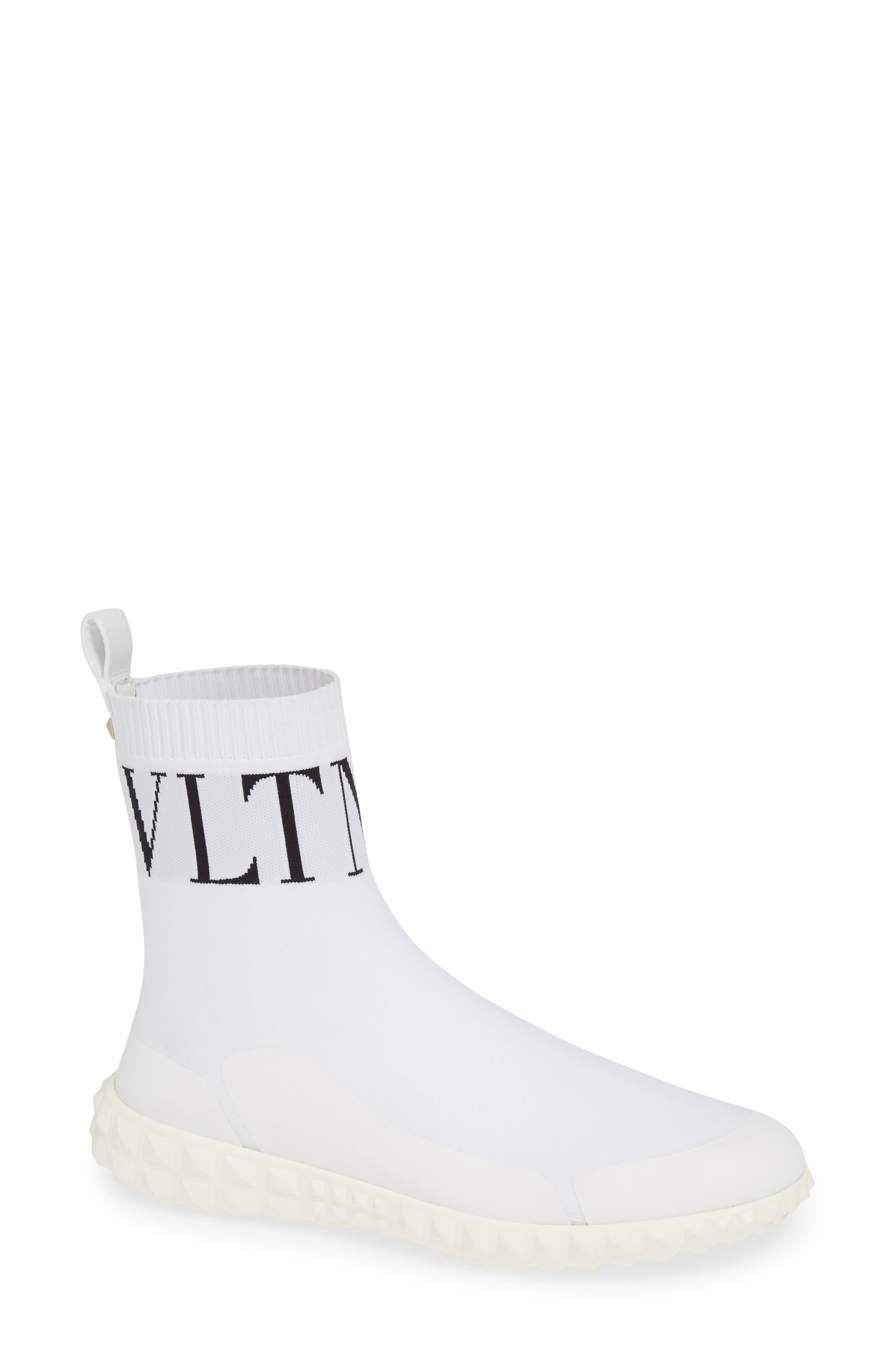 VLTN Slip-On Sock Sneaker,                             Main thumbnail 1, color,                             WHITE