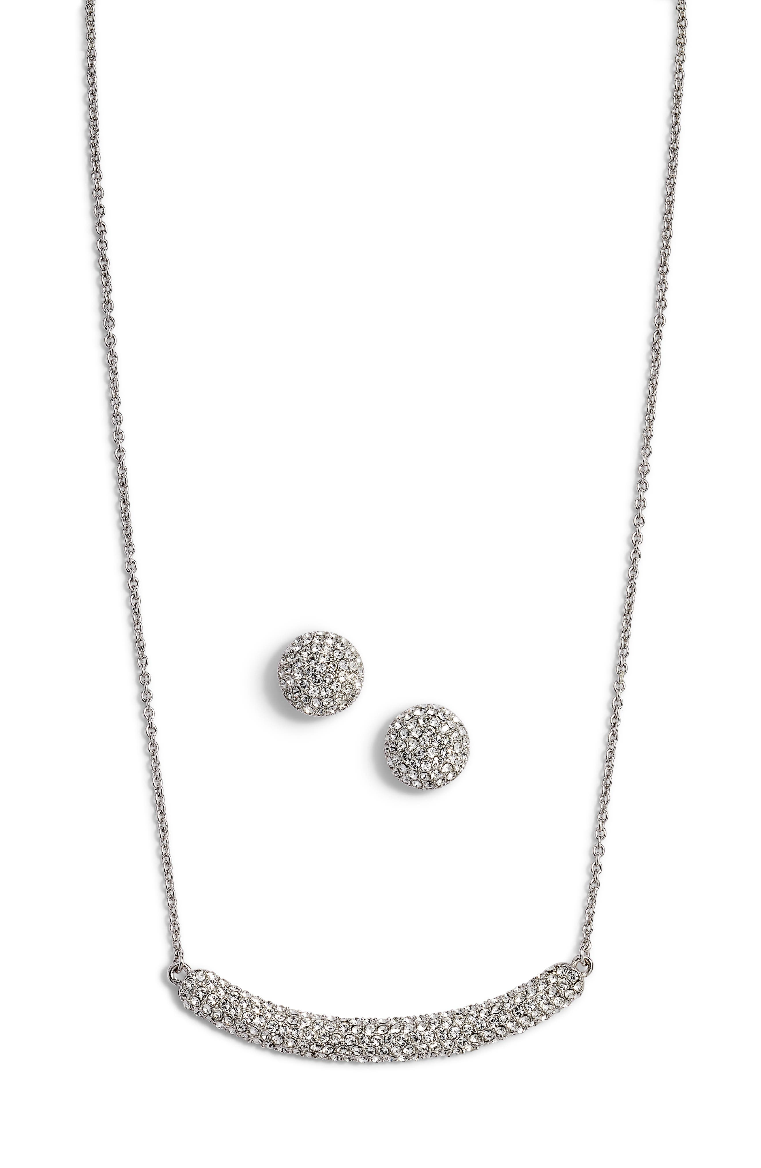 Pavé Swarovski Crystal Necklace & Stud Earrings Set,                             Main thumbnail 1, color,                             WHITE/ SILVER