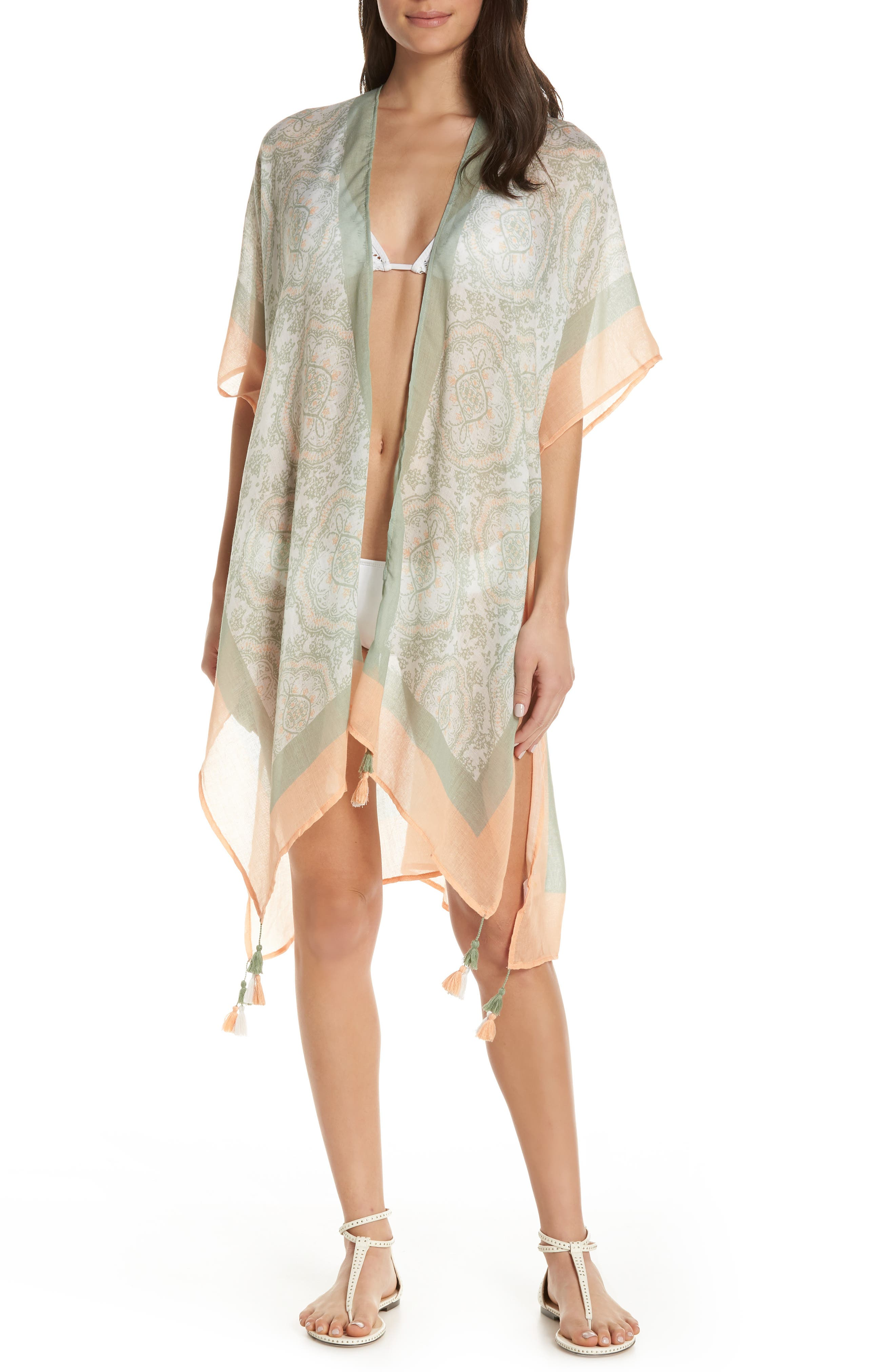 SURF GYPSY Sorbet Vintage Baroque Cover-Up in Mint/ Peach