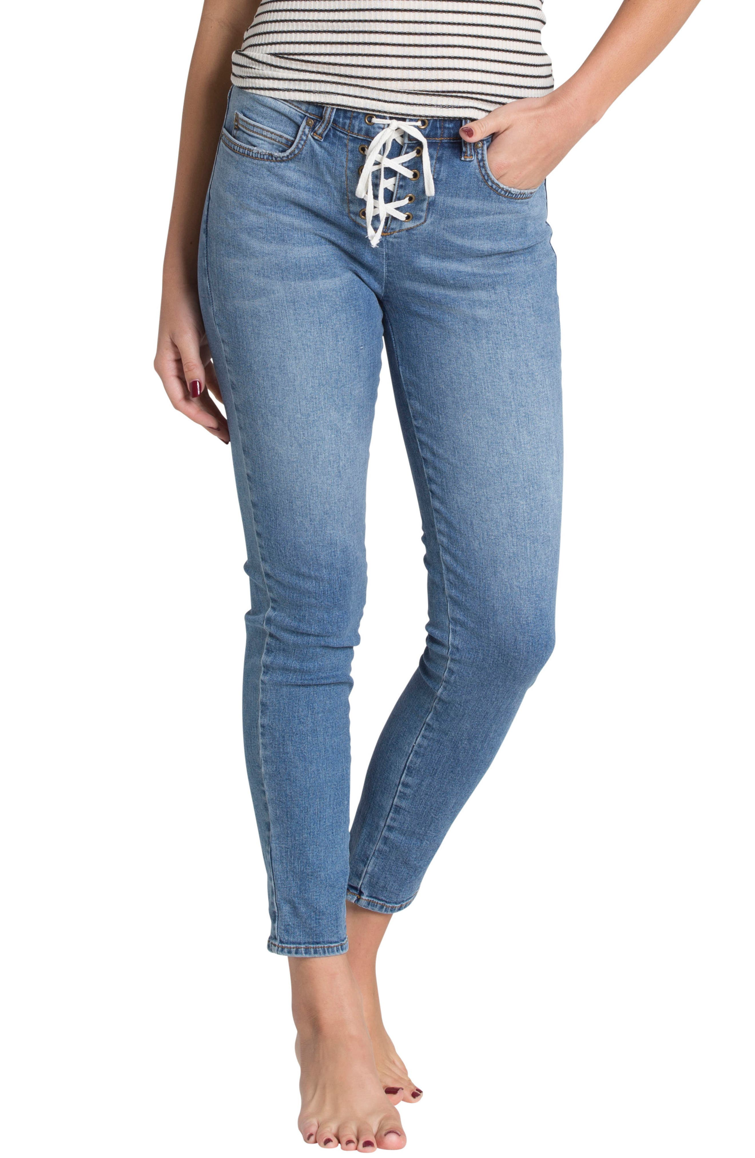 Side by Side Skinny Jeans,                         Main,                         color, 400
