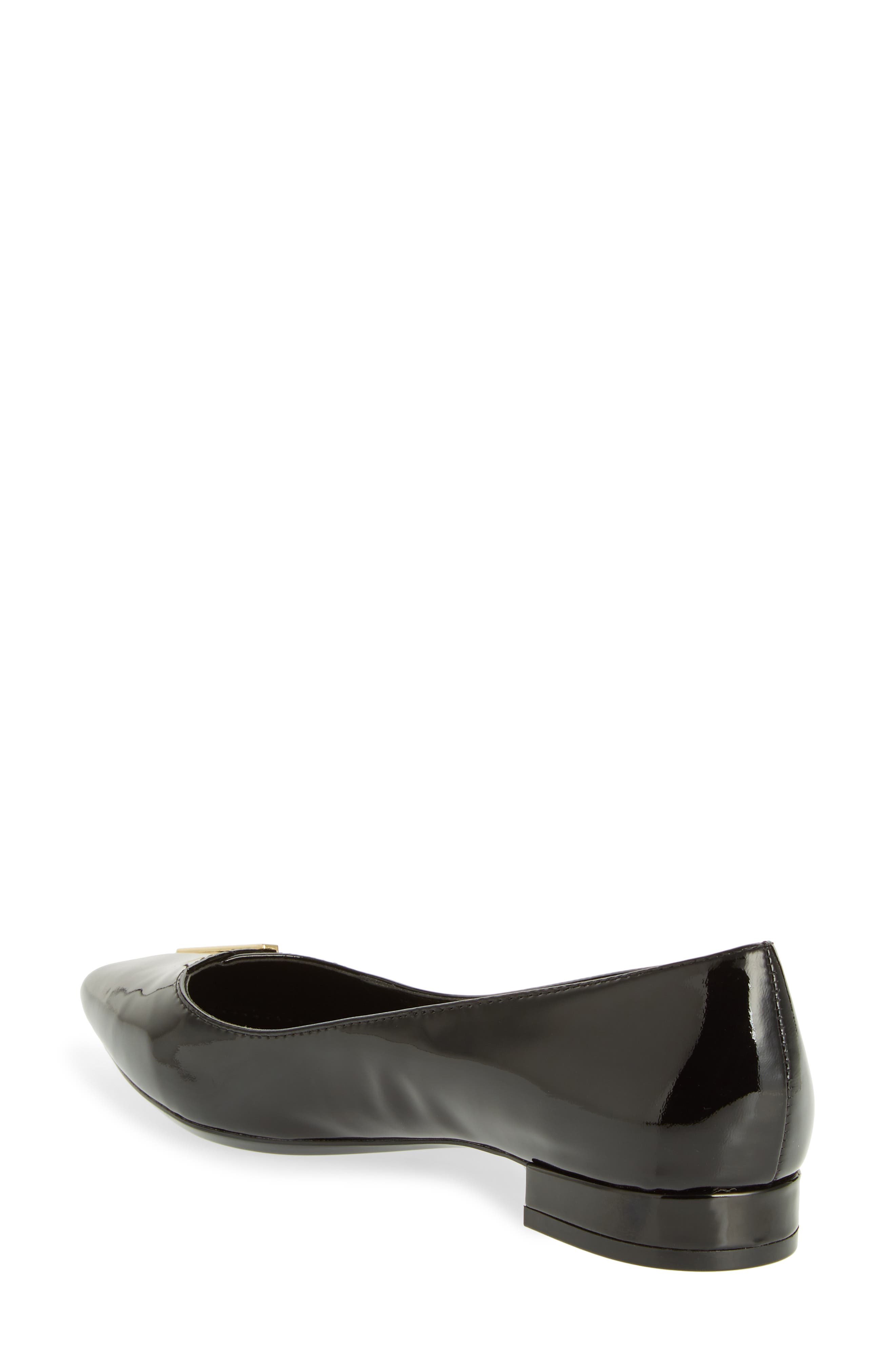 Arline Pointy Toe Flat,                             Alternate thumbnail 2, color,                             BLACK PATENT LEATHER