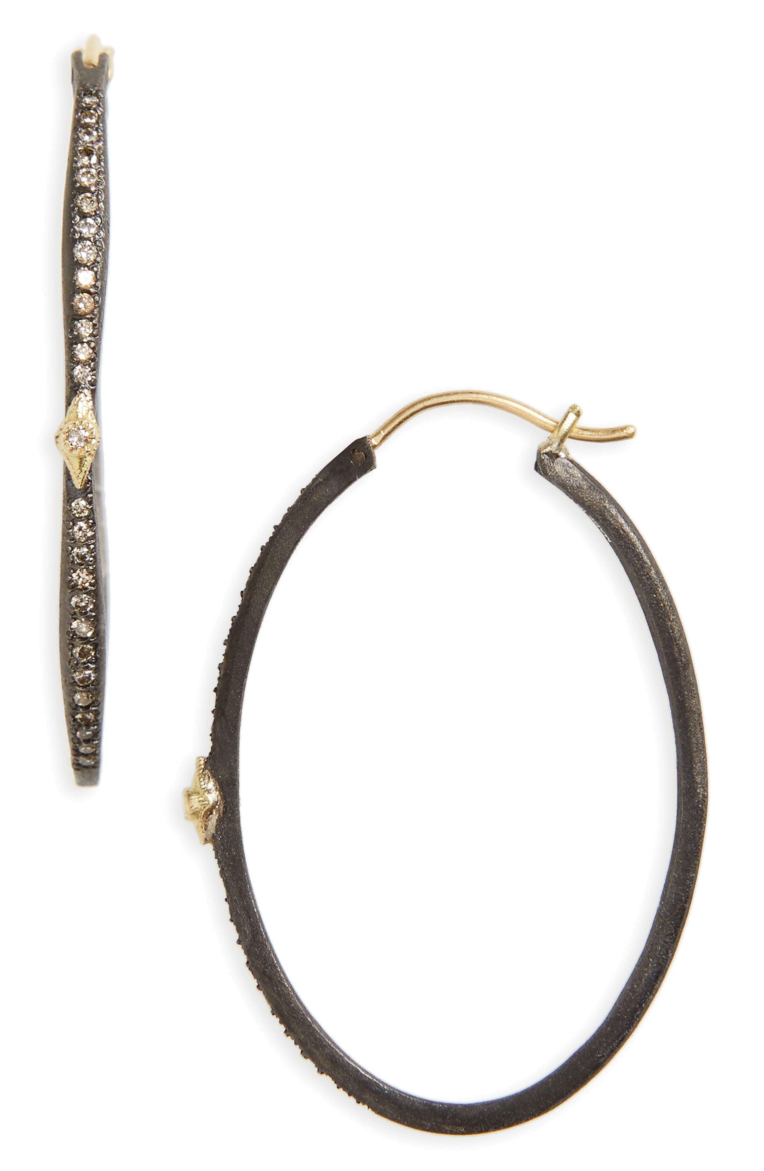 Old World Oval Hoop Earrings,                             Main thumbnail 1, color,                             BLACKENED SILVER