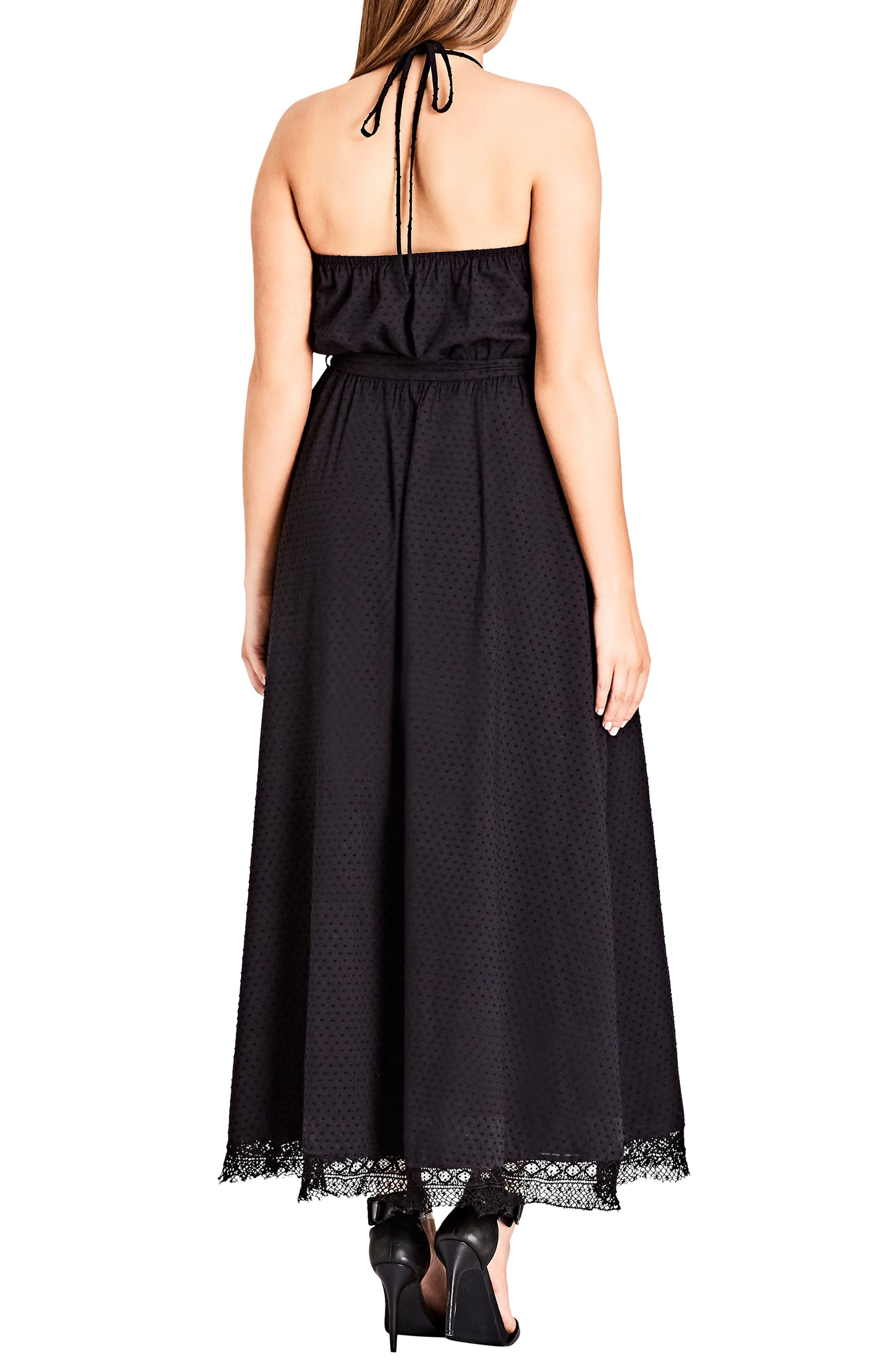 Lace Trim Swiss Dot Halter Maxi Dress,                             Alternate thumbnail 2, color,                             BLACK