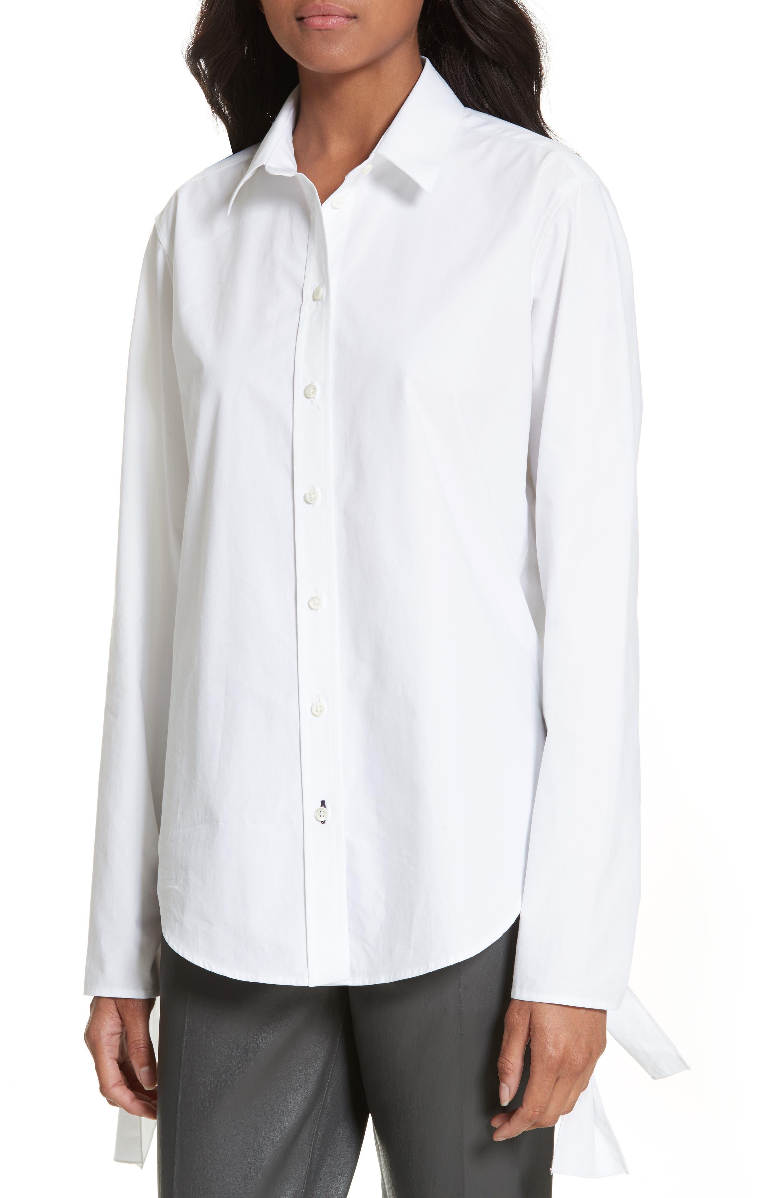 Tie Sleeve Shirt,                             Alternate thumbnail 4, color,                             100