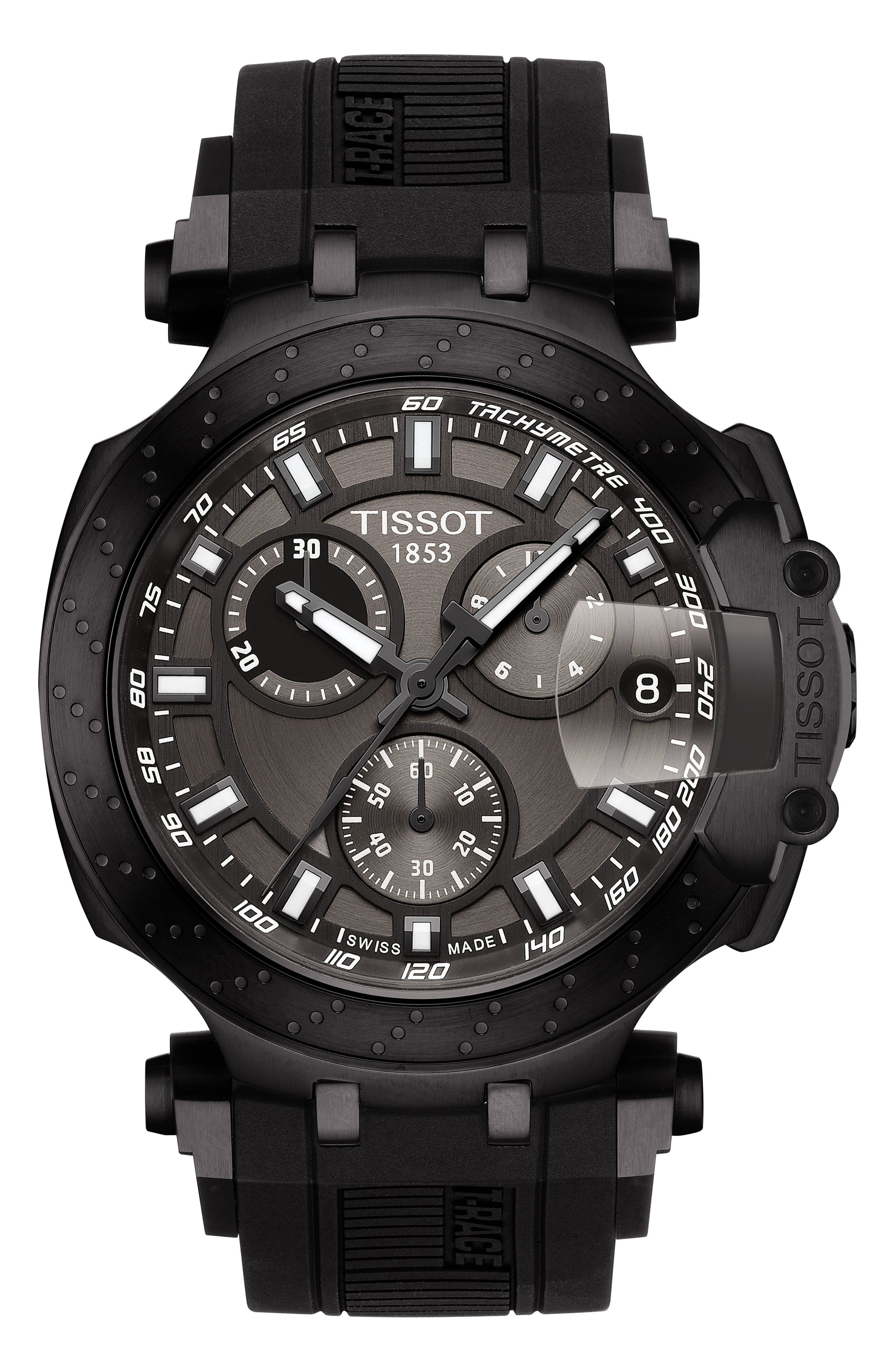 TISSOT T-Race Chronograph Silicone Strap Watch, 48mm, Main, color, BLACK/ ANTHRACITE/ GREY