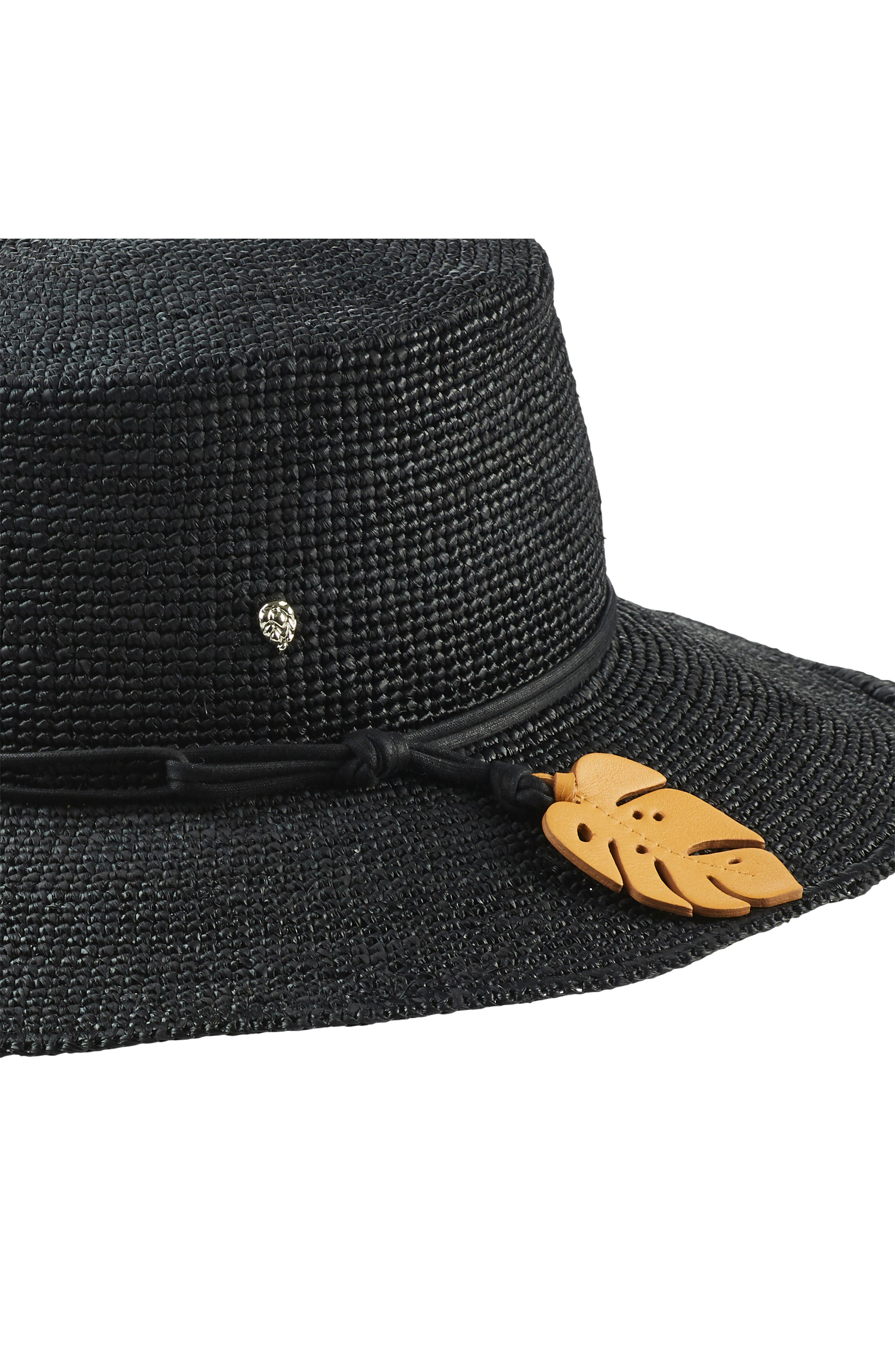 Tapered Brim Raffia Hat,                             Alternate thumbnail 3, color,                             CHARCOAL/ CONGO YELLOW