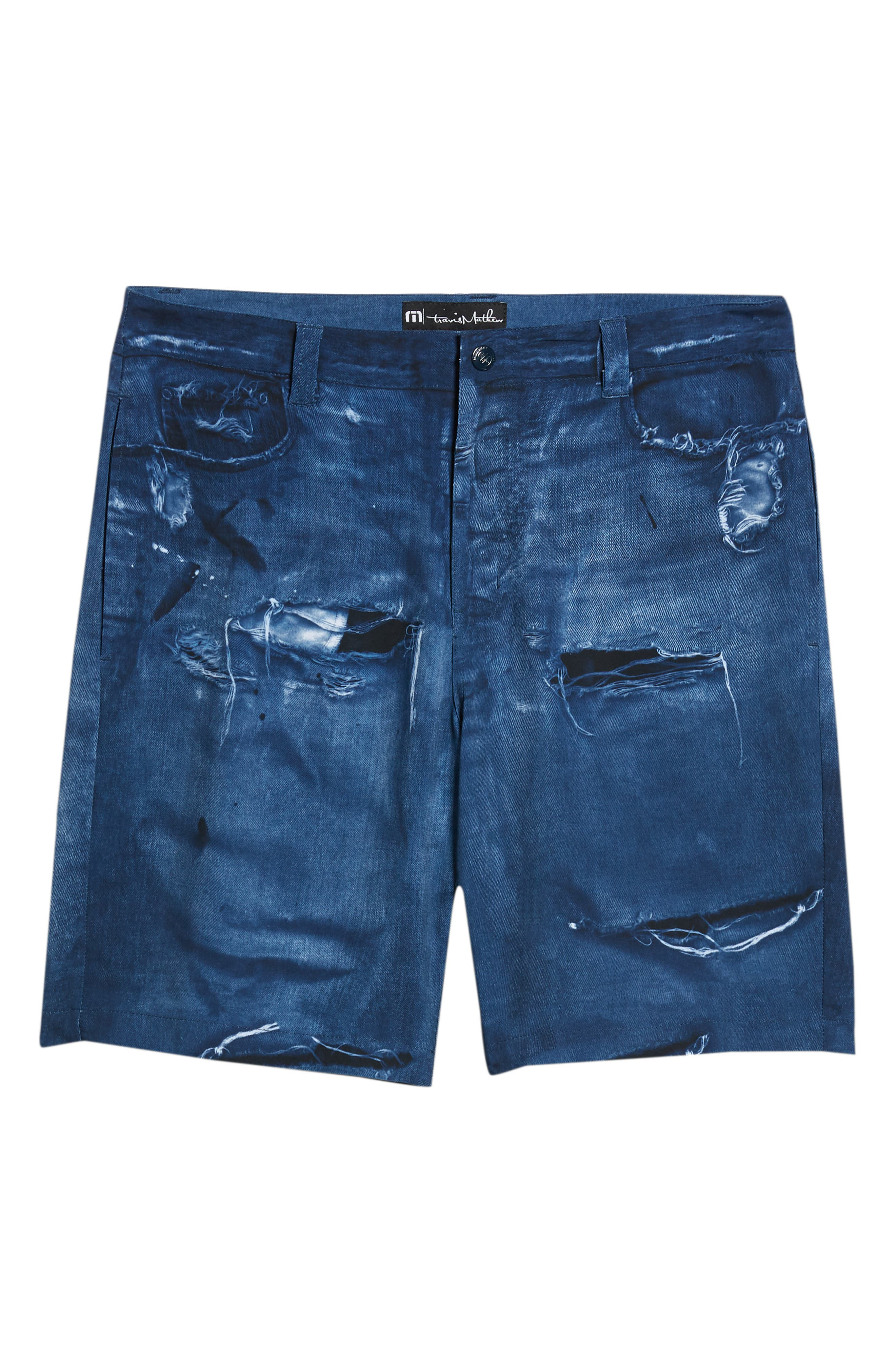 Man o' War Regular Fit Shorts,                             Alternate thumbnail 6, color,                             DENIM