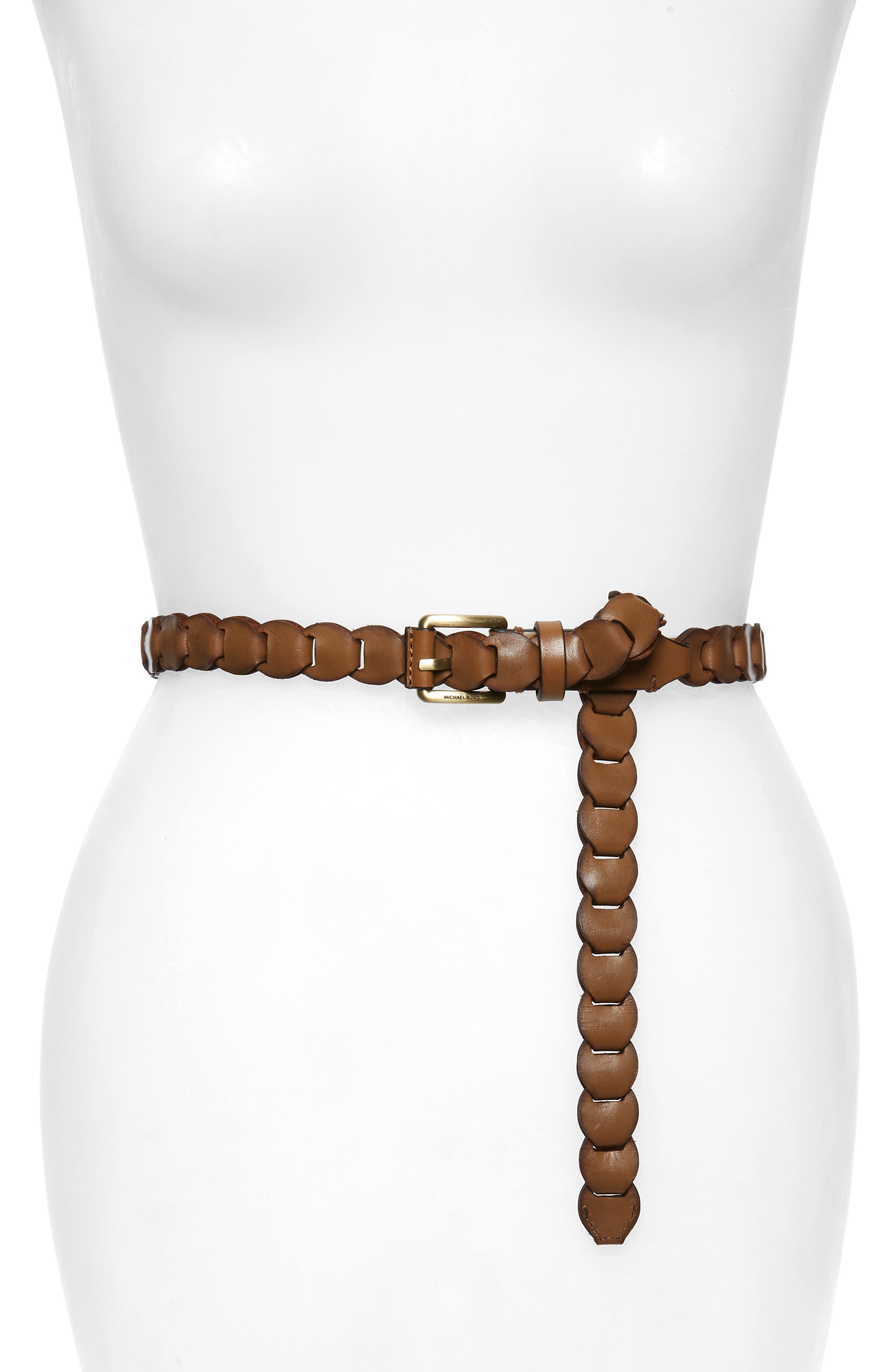 Michael Michael Kors Skinny Braided Leather Belt, Acorn/ Oeb
