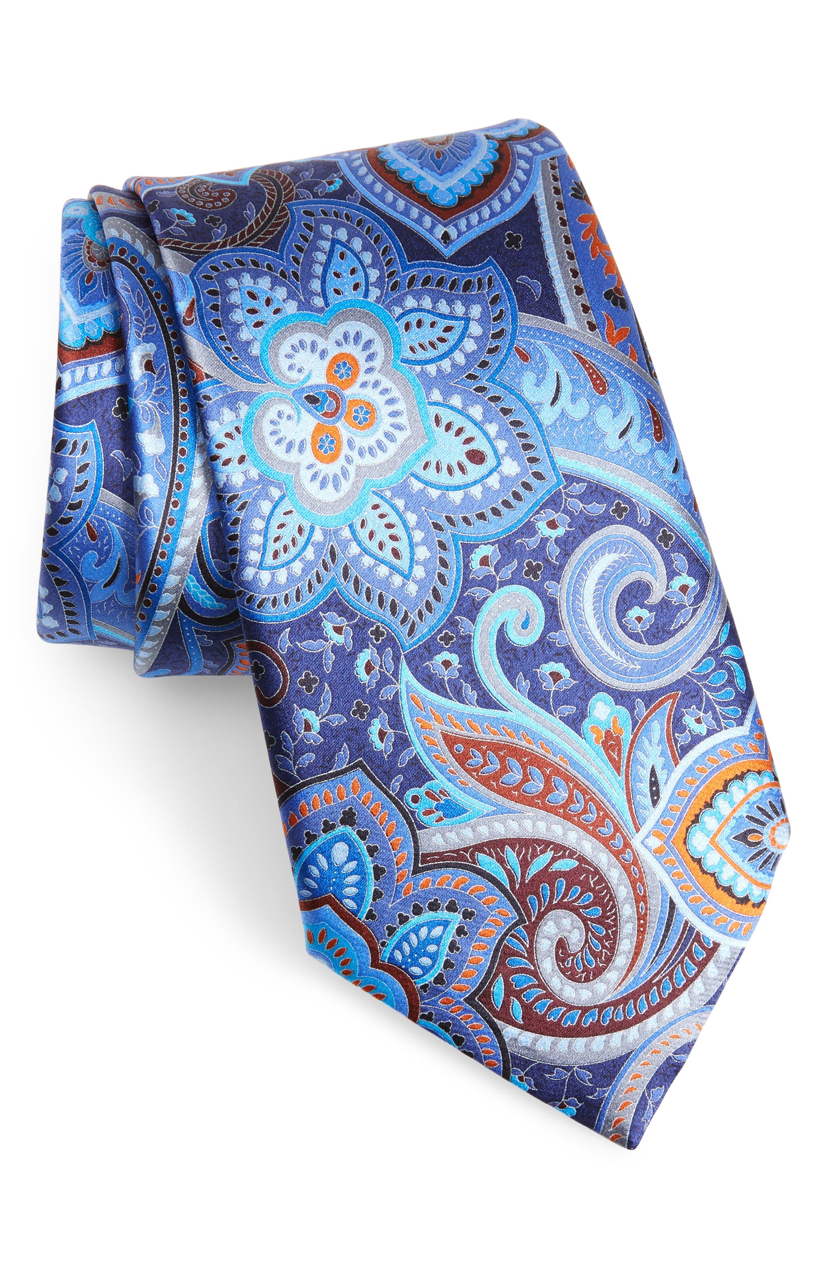 Ermenegildo Zenga Quindici + Quindici Paisley Silk Tie,                         Main,                         color, BLUE