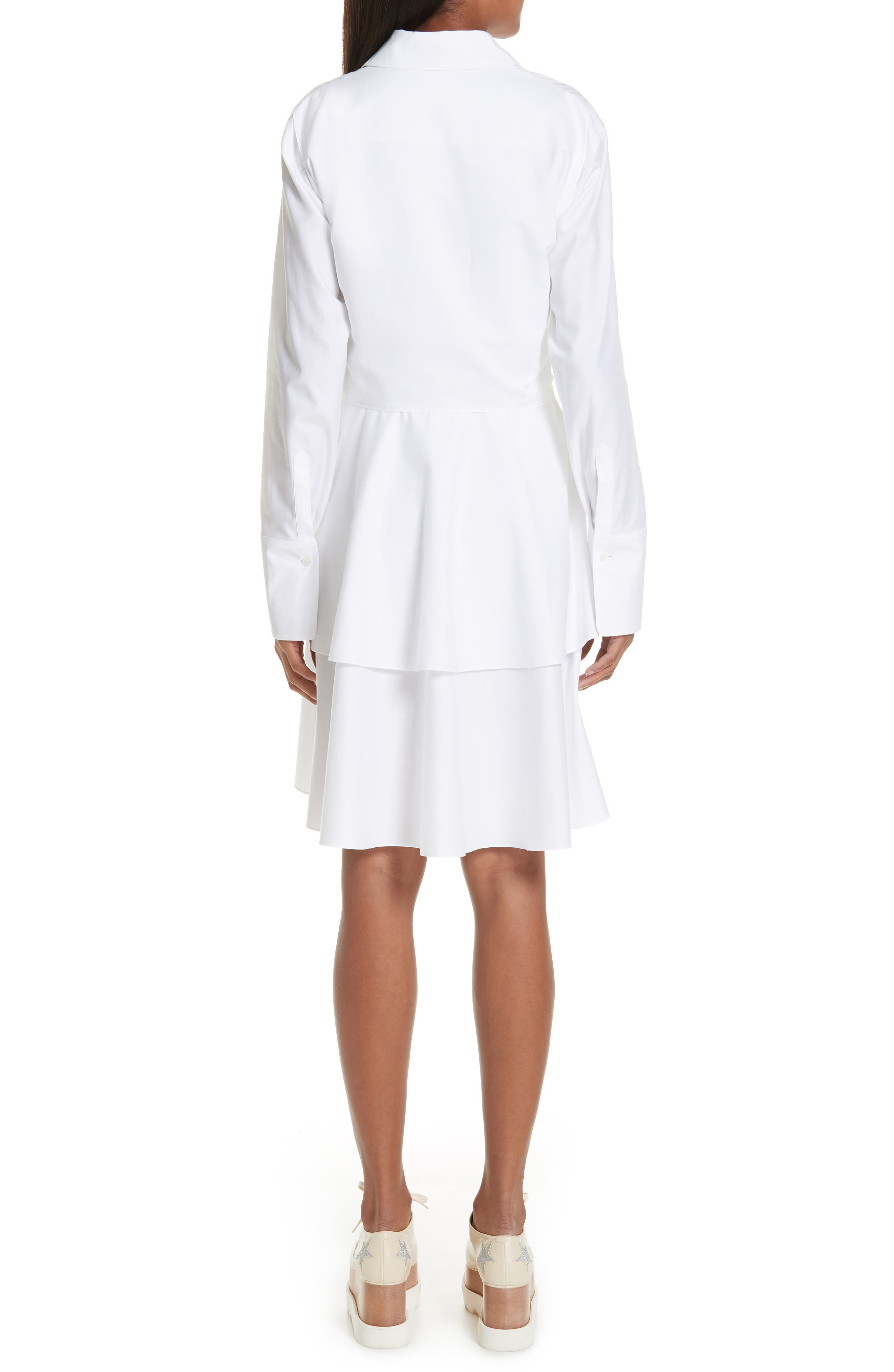 Tie Waist Tiered Poplin Dress,                             Alternate thumbnail 2, color,                             PURE WHITE