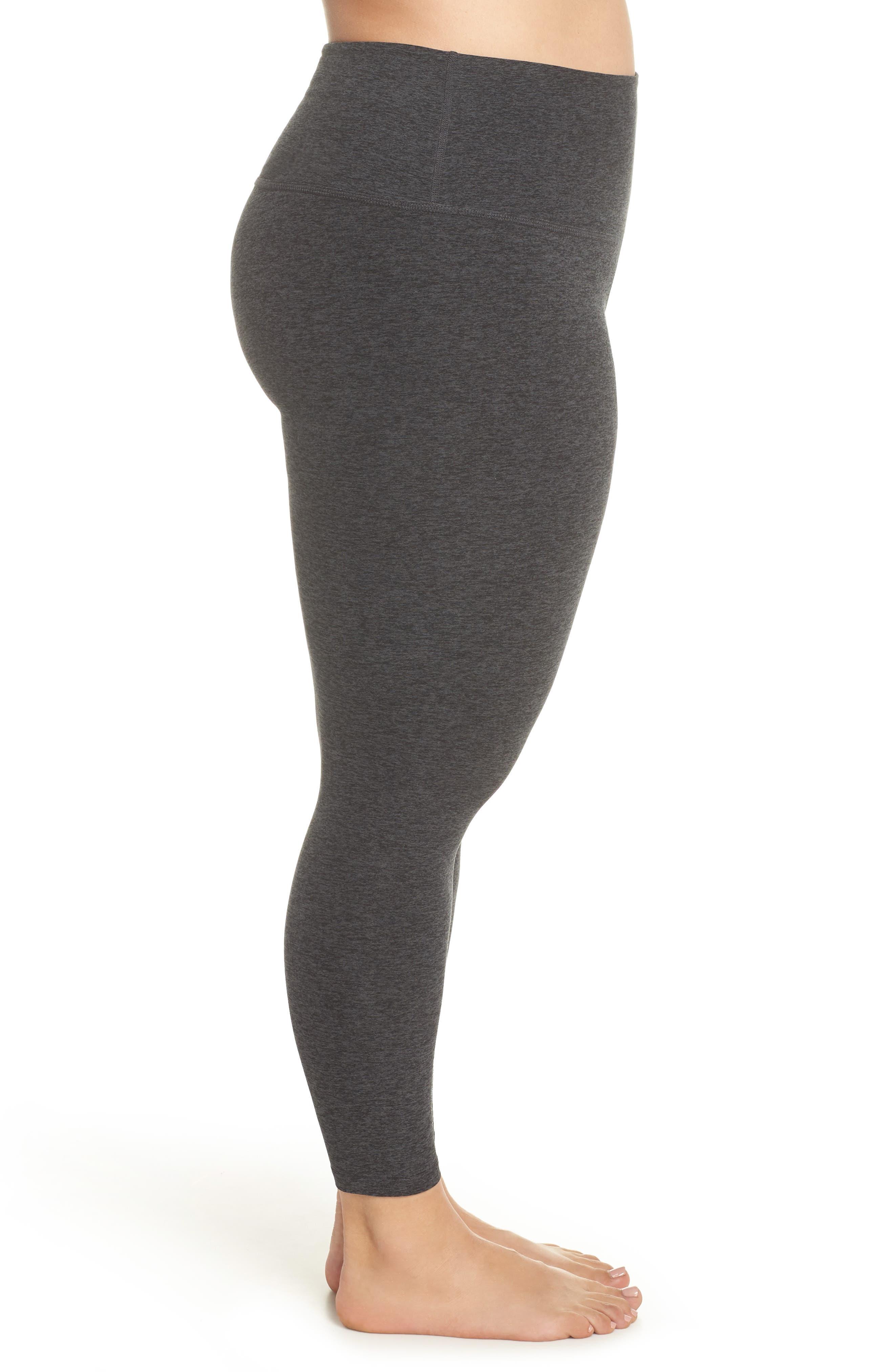 High Waist Midi Leggings,                             Alternate thumbnail 3, color,                             BLACK/ CHARCOAL