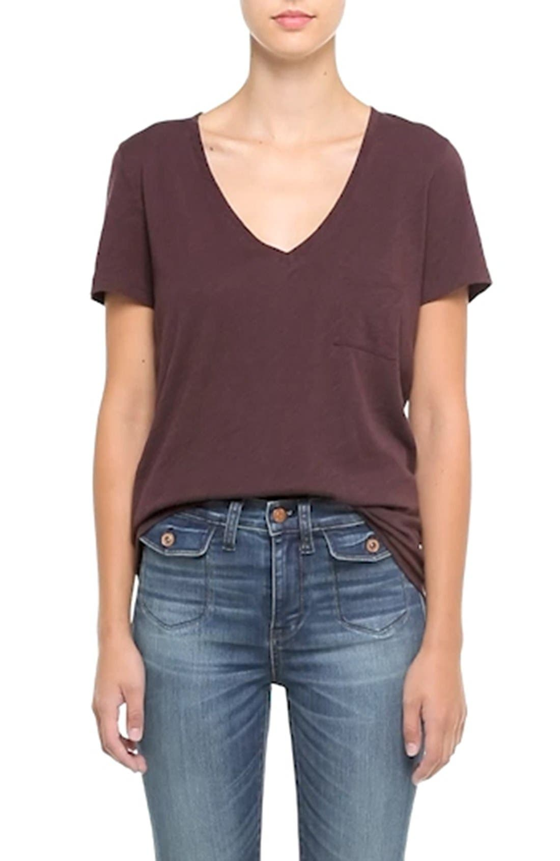 Whisper Cotton V-Neck Pocket Tee,                             Alternate thumbnail 98, color,