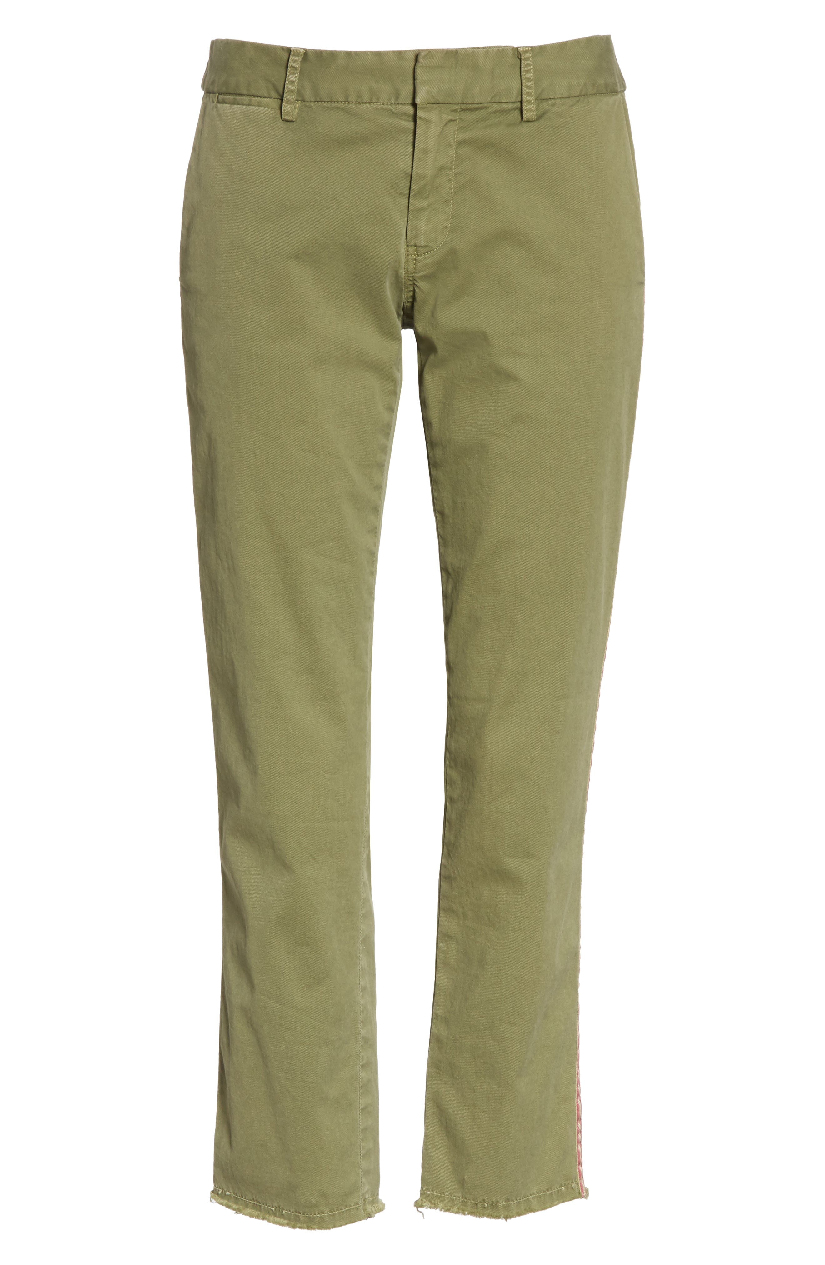 East Hampton Stretch Cotton Twill Crop Pants,                             Alternate thumbnail 6, color,                             ARMY GREEN