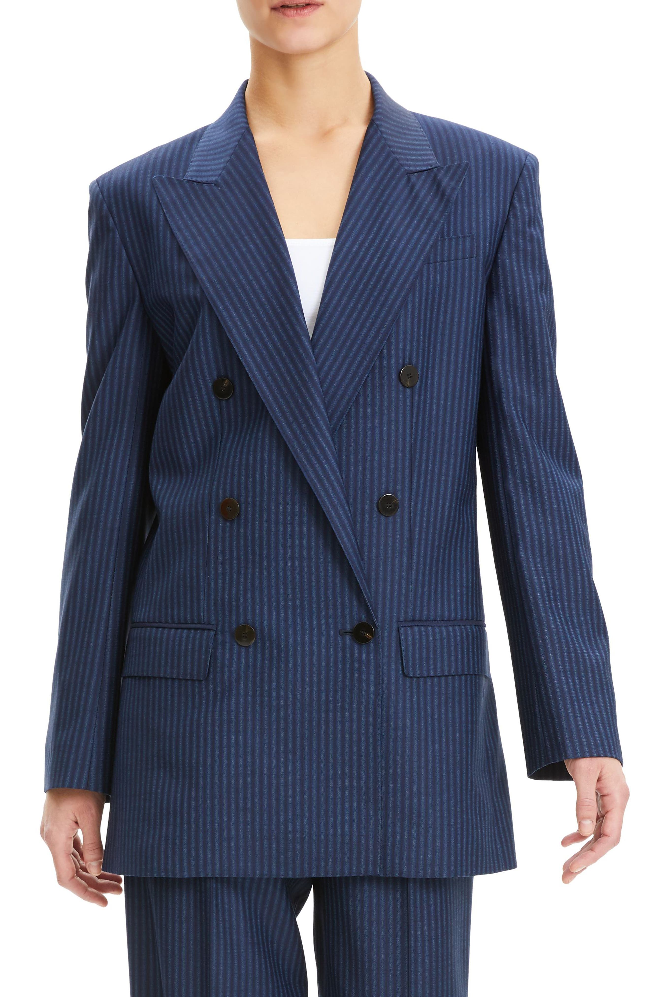 THEORY,                             Pale Stripe Double Breasted Wool Jacket,                             Main thumbnail 1, color,                             NAVY SAPPHIRE STRIPE