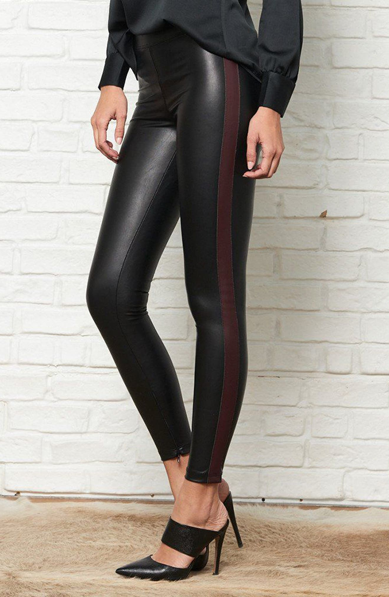 Tuxedo Stripe Zip Faux Leather Leggings,                             Alternate thumbnail 14, color,