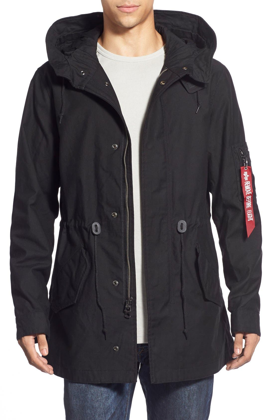 'M-59' Hooded Fishtail Parka,                         Main,                         color, 001