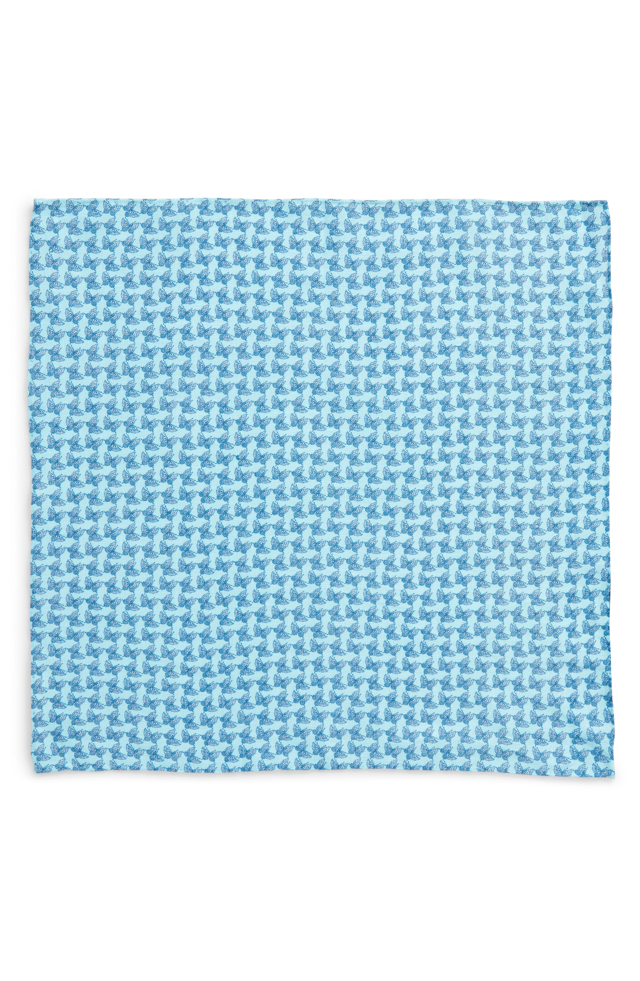 Butterfly Season Print Linen Pocket Square,                             Alternate thumbnail 2, color,                             400