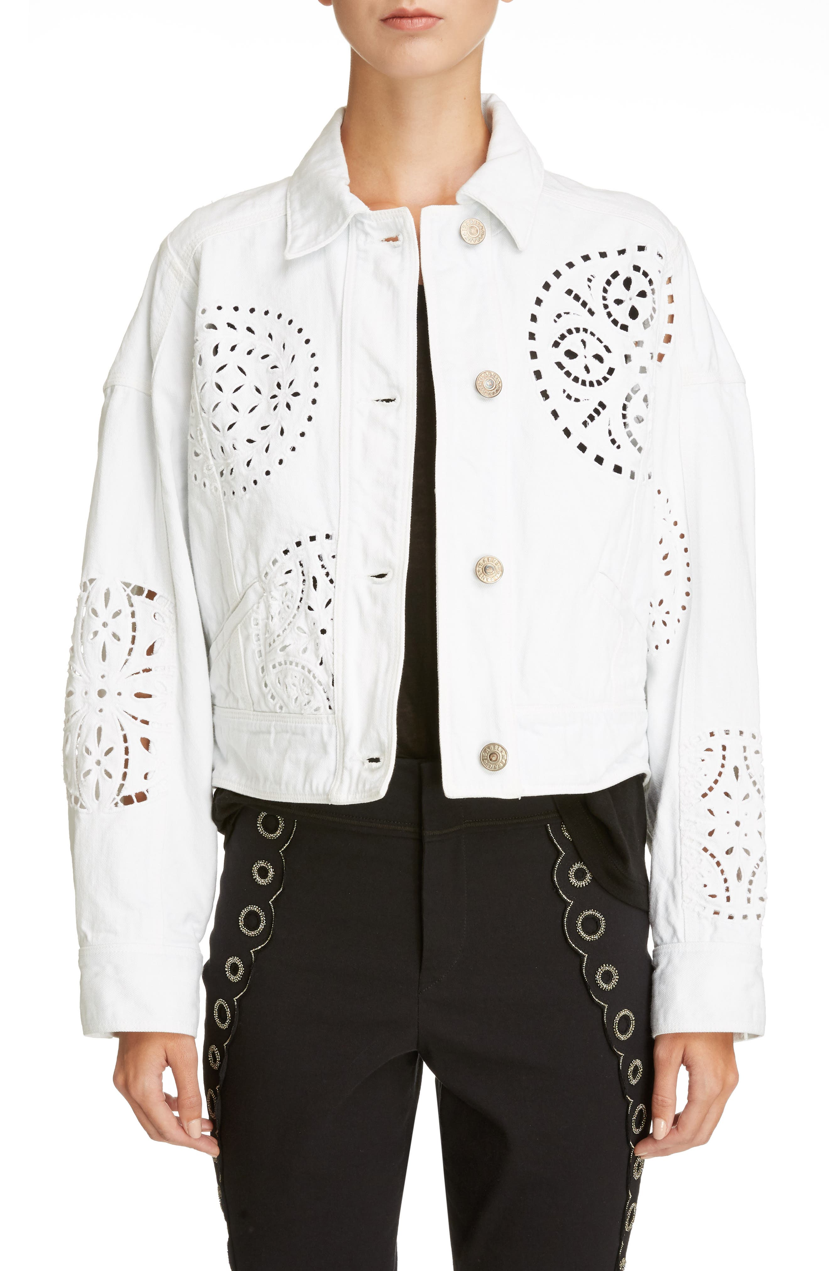 Broderie Anglaise Denim Jacket,                         Main,                         color, 100