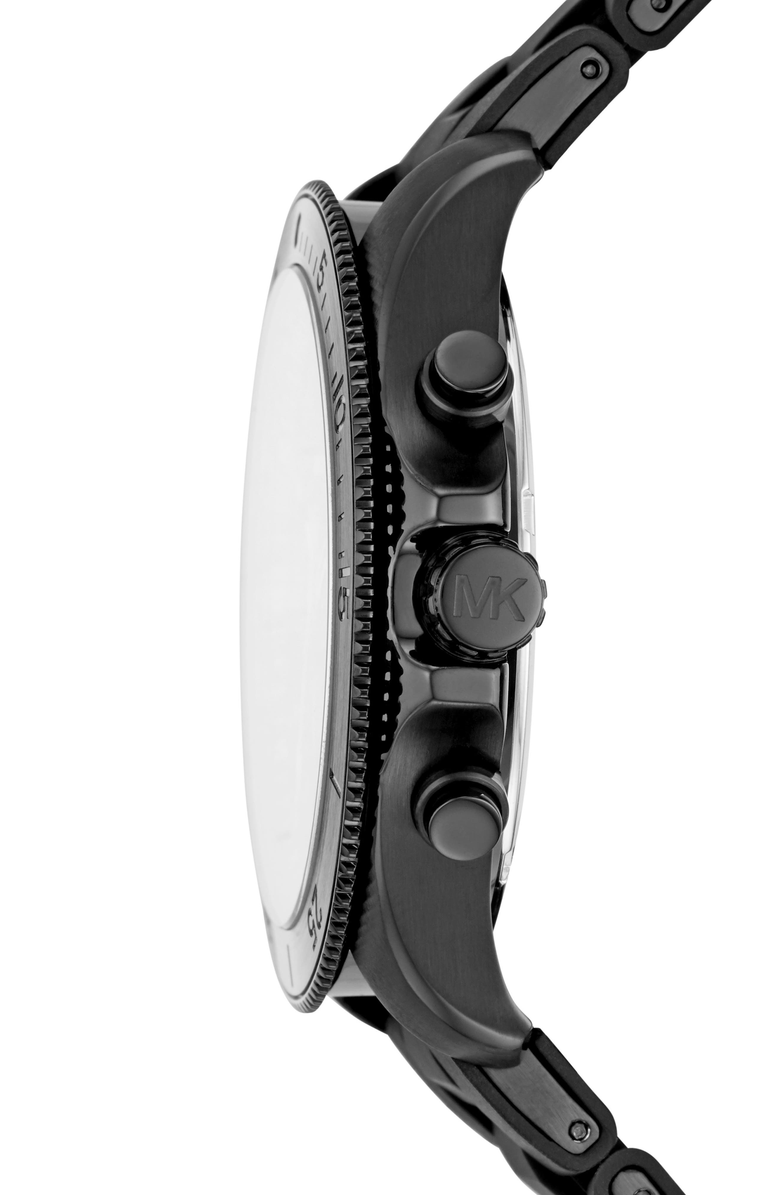 Theroux Silicone Bracelet Watch, 45mm,                             Alternate thumbnail 2, color,                             BLACK