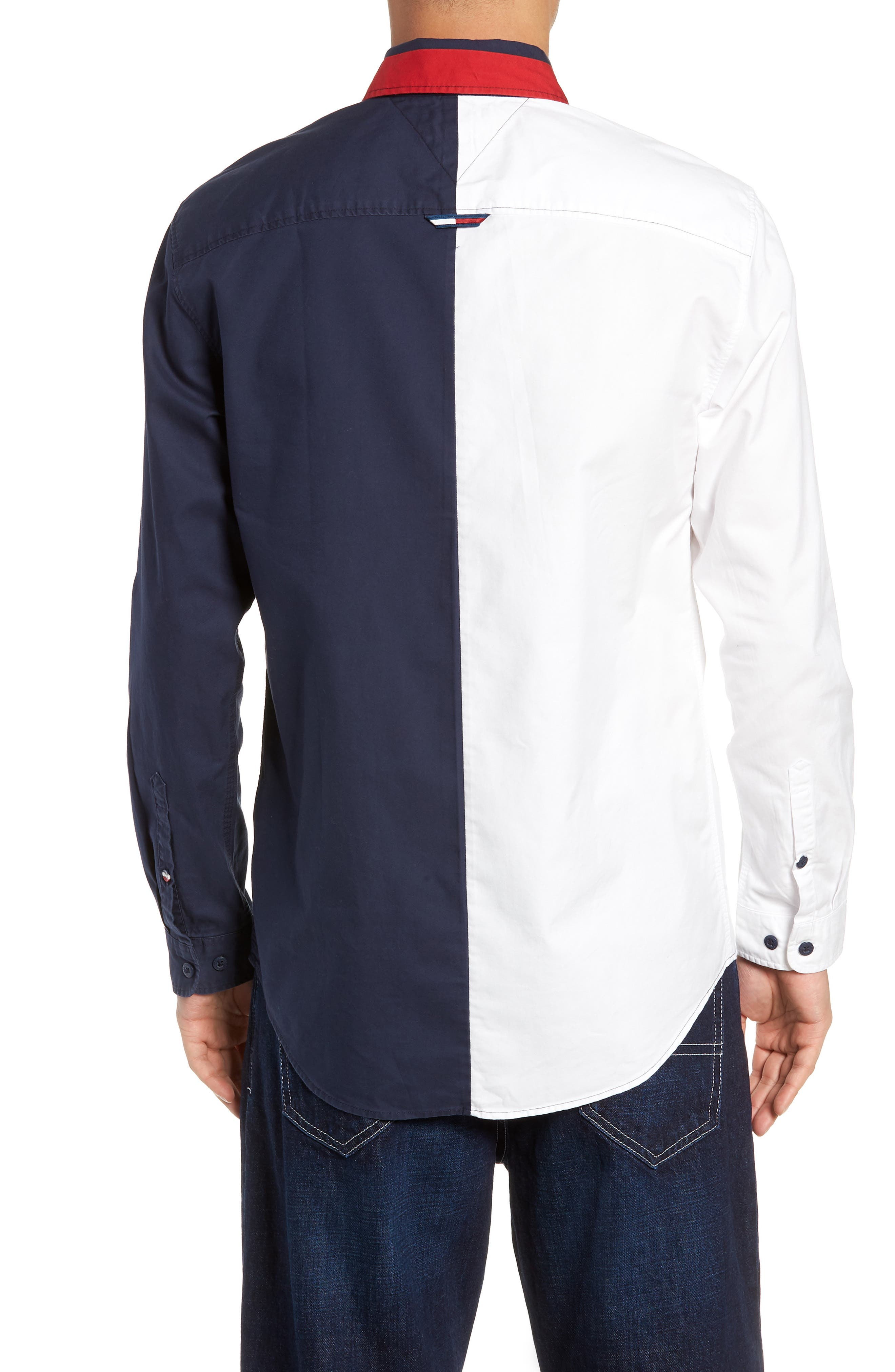 Half & Half Shirt,                             Alternate thumbnail 3, color,                             CLASSIC WHITE / BLACK IRIS
