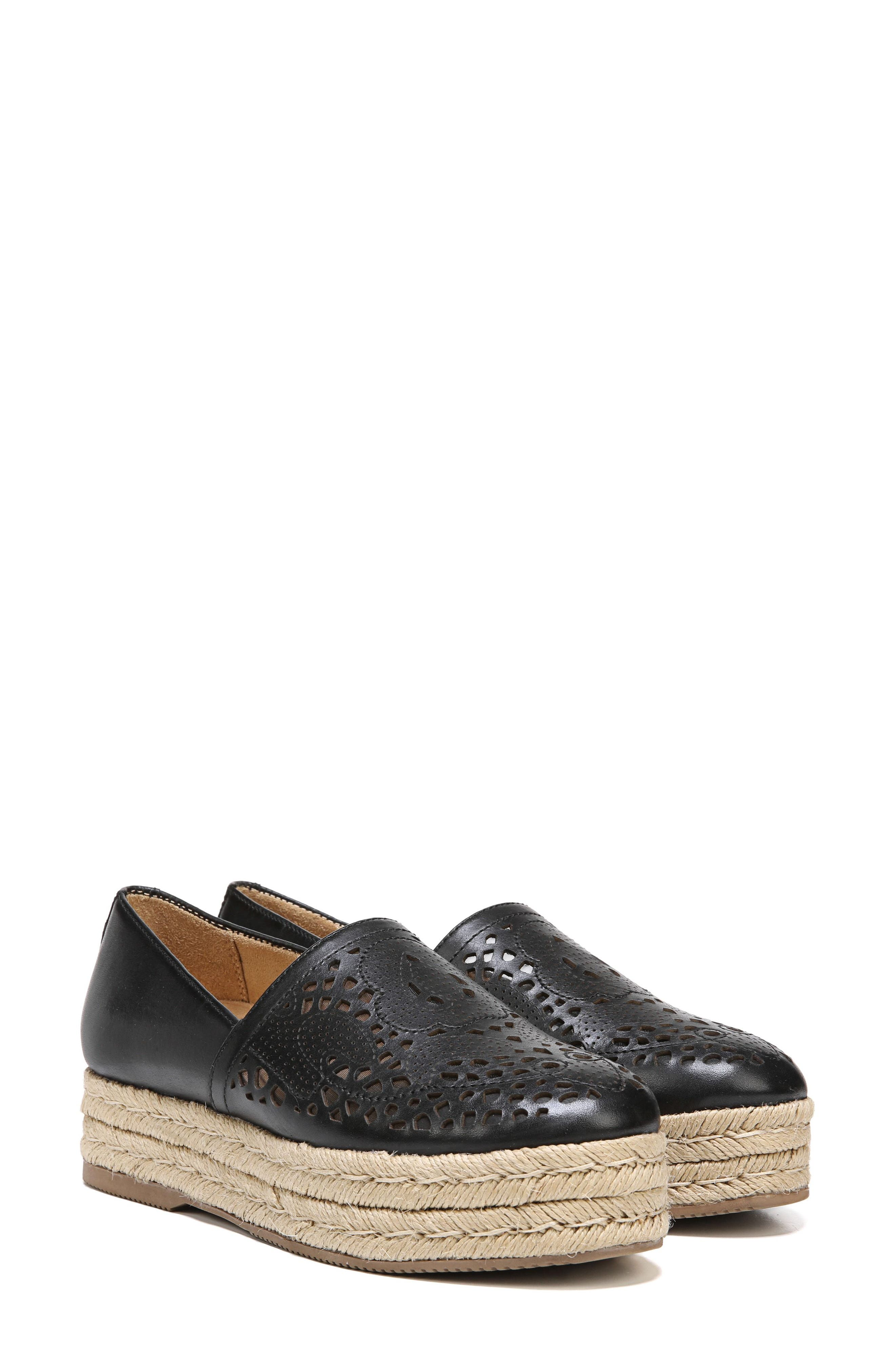 Thea Perforated Platform Espadrille,                             Alternate thumbnail 7, color,                             001