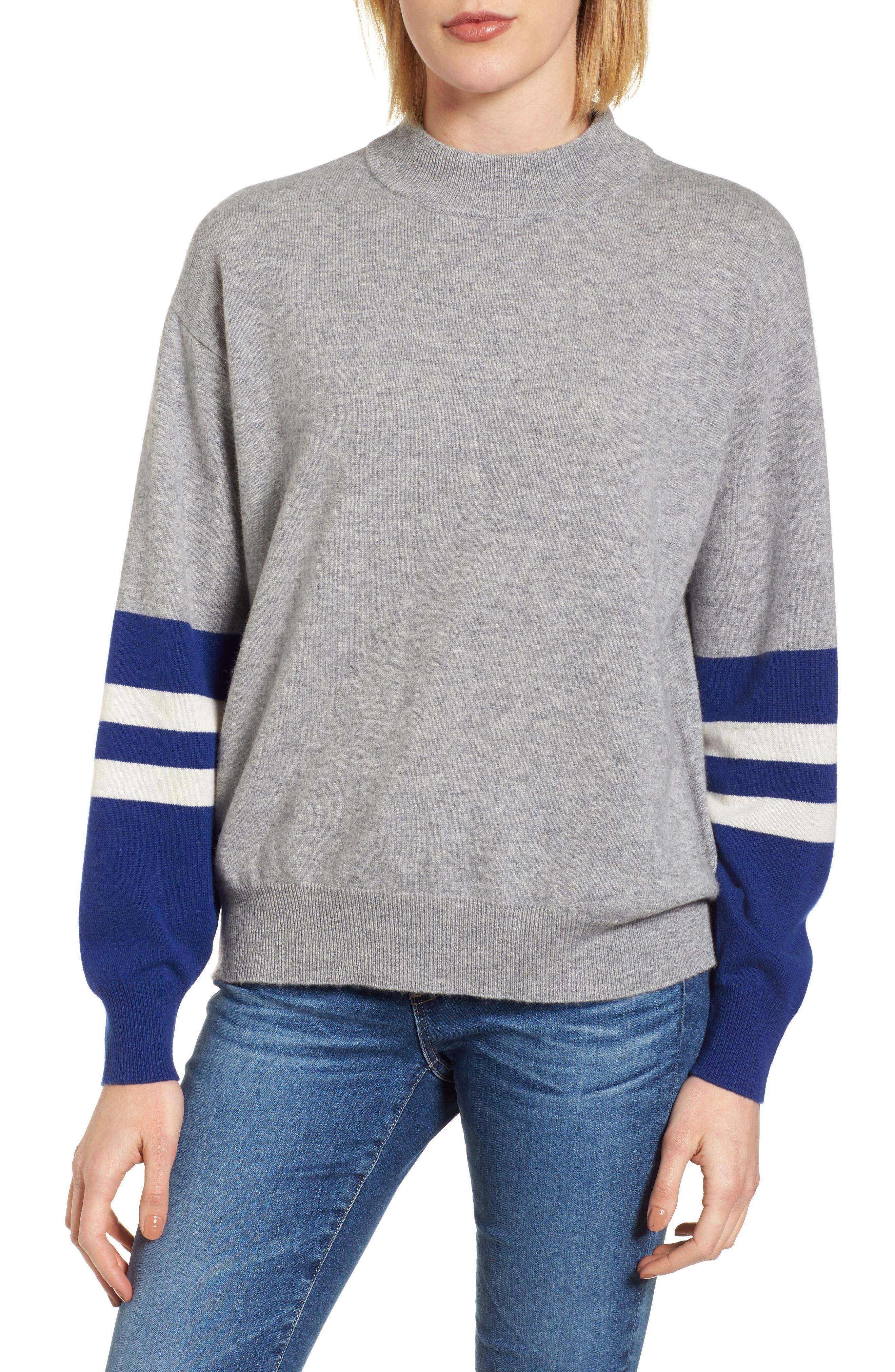 Colorblock Cashmere Sweater,                         Main,                         color, HEATHER GREY