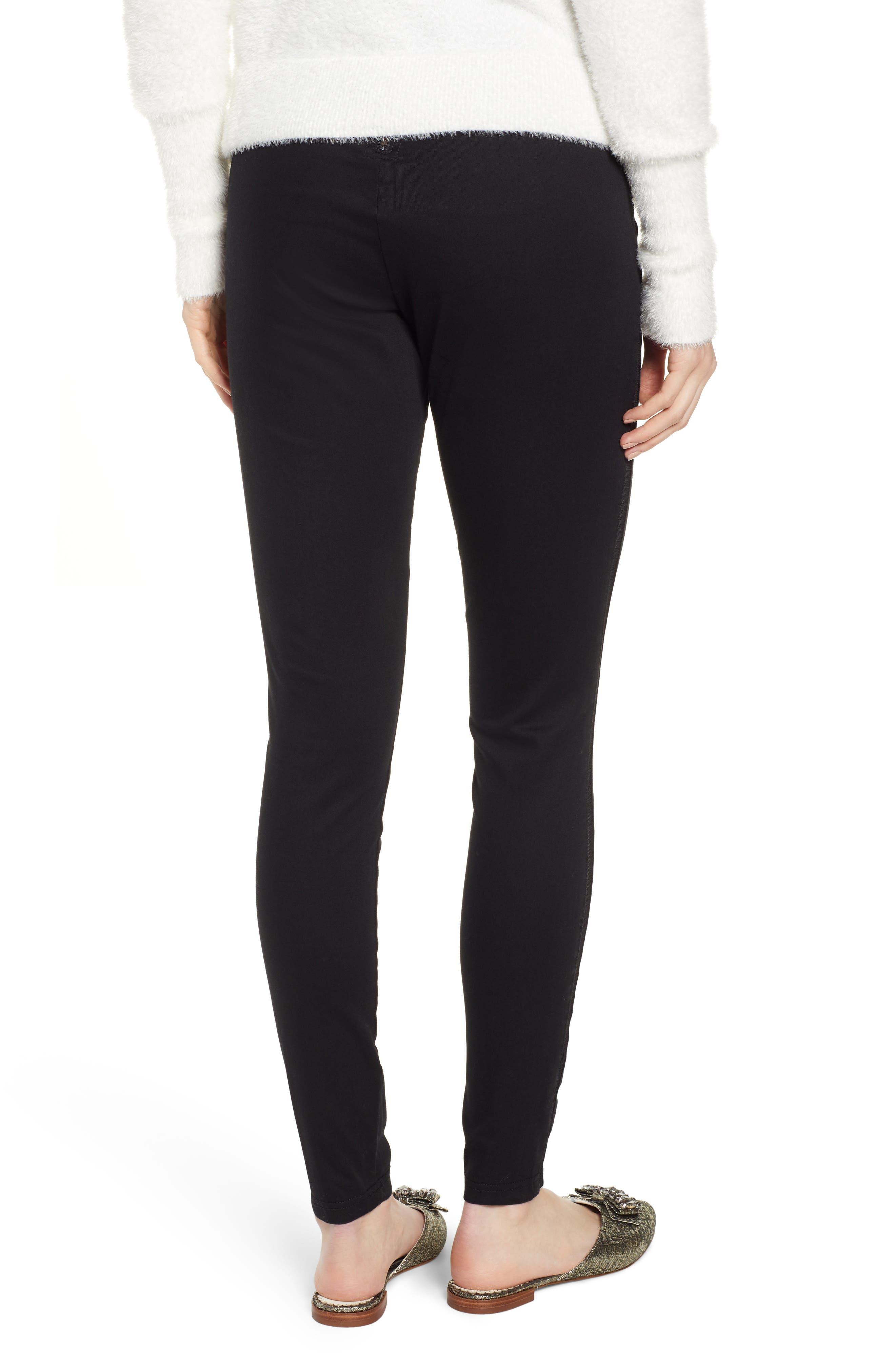 HUE,                             High Waist Mesh Tuxedo Stripe Denim Leggings,                             Alternate thumbnail 2, color,                             BLACK