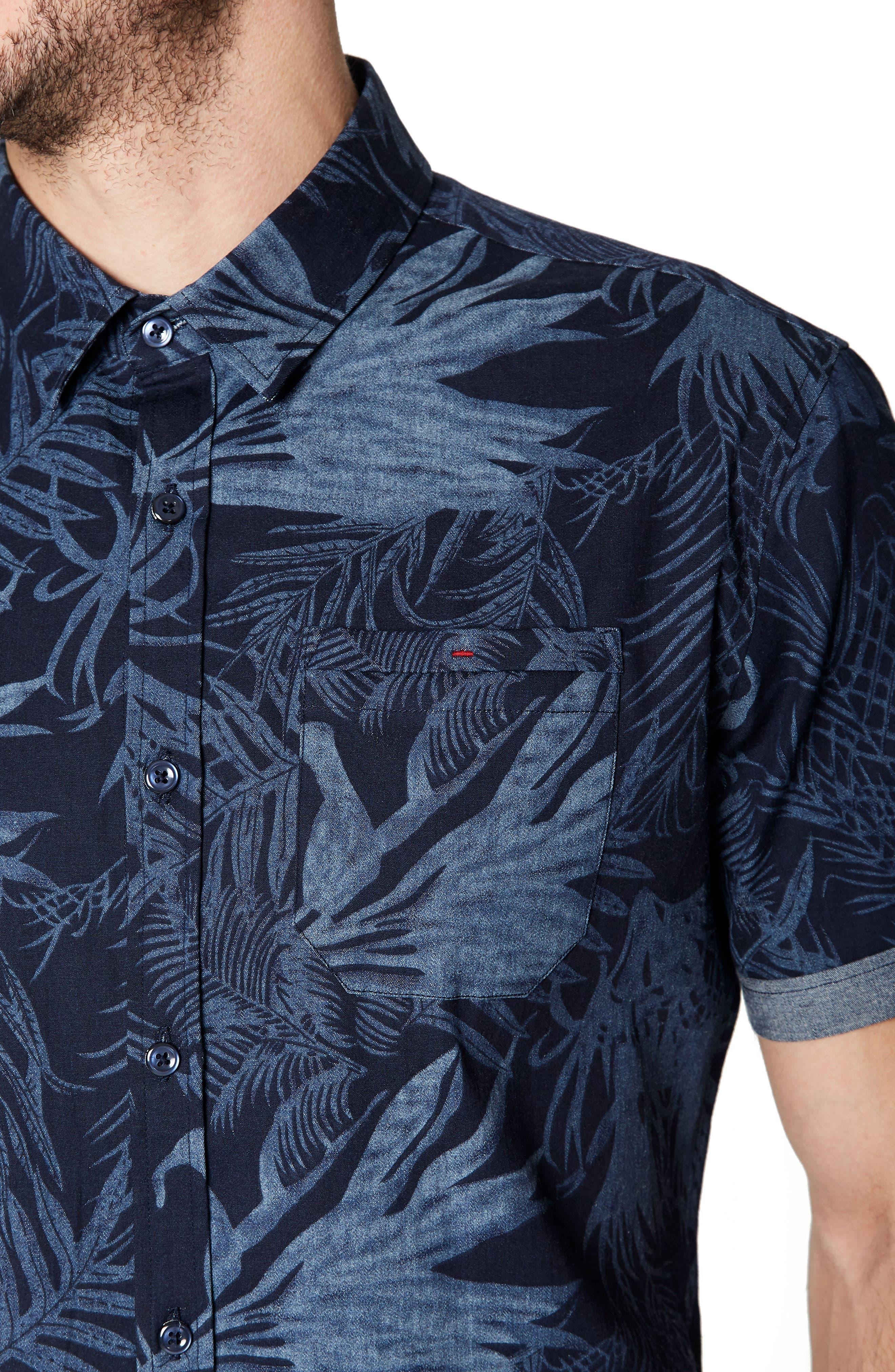 Feeling Good Woven Shirt,                             Alternate thumbnail 4, color,                             NAVY