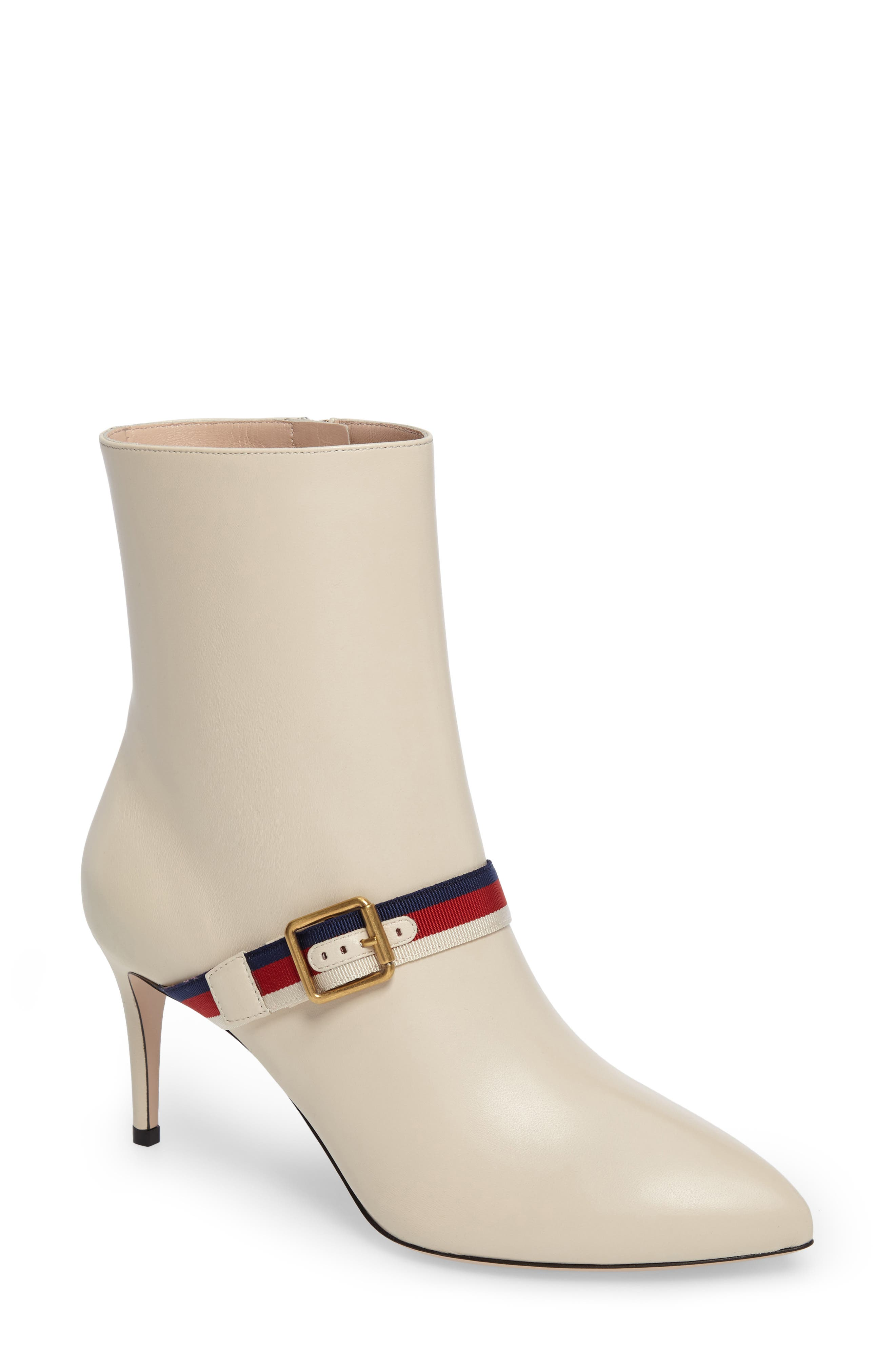 Sylvie Strap Ankle Boot,                             Main thumbnail 1, color,                             WHITE LEATHER