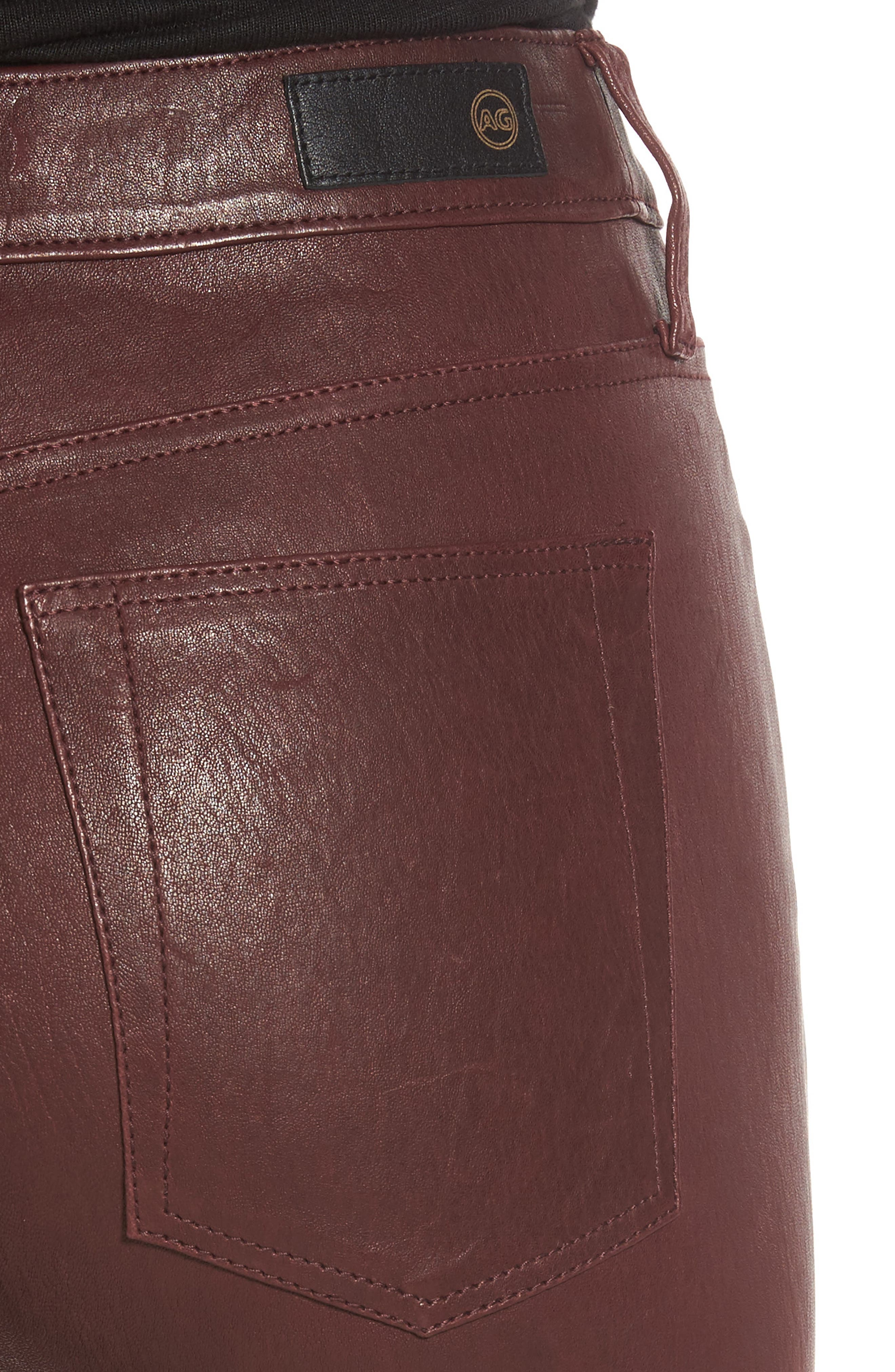 Farrah Leather Skinny Jeans,                             Alternate thumbnail 12, color,