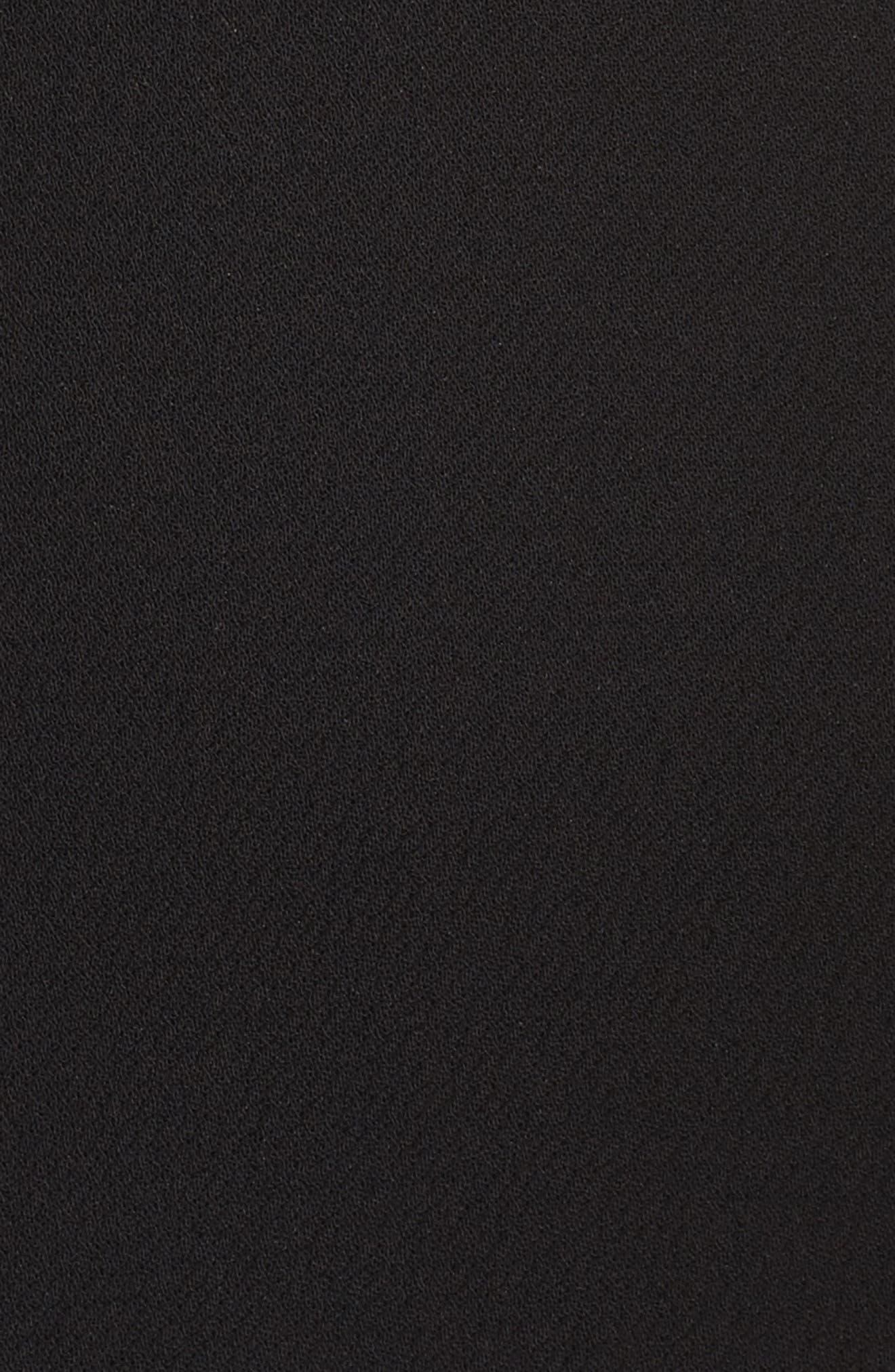 Off the Shoulder Front Slit Crepe Dress,                             Alternate thumbnail 5, color,                             001