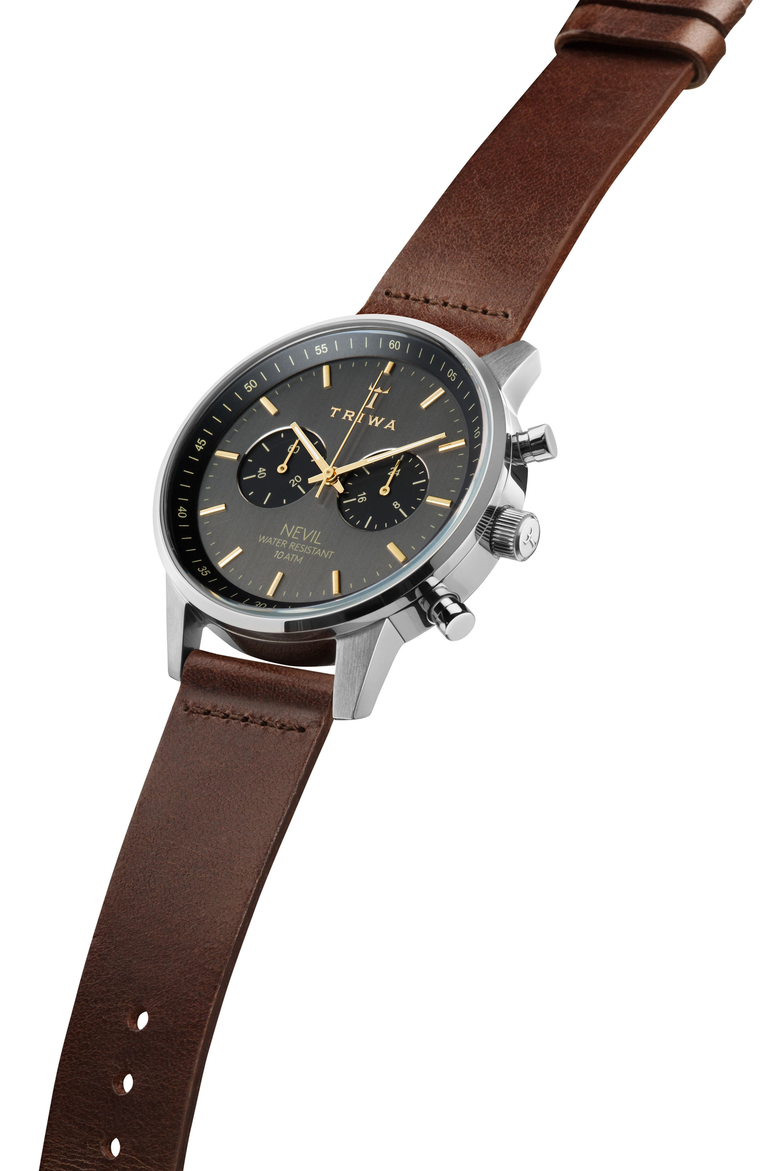Smoky Nevil Chronograph Leather Strap Watch, 42mm,                             Alternate thumbnail 2, color,                             BROWN/ GREY/ SILVER