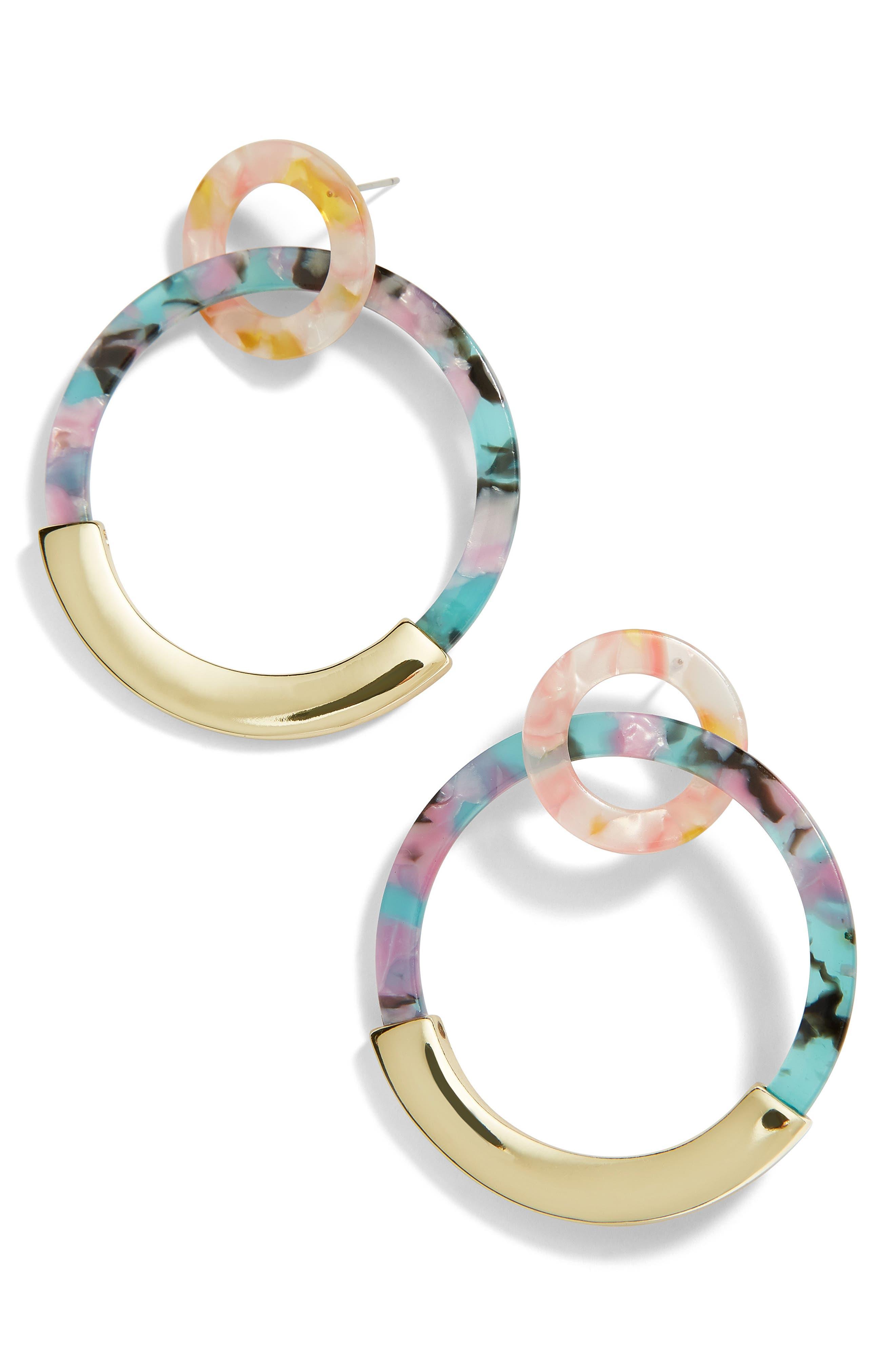 BAUBLEBAR Daniya Resin Hoop Earrings in Turquoise/ Purple