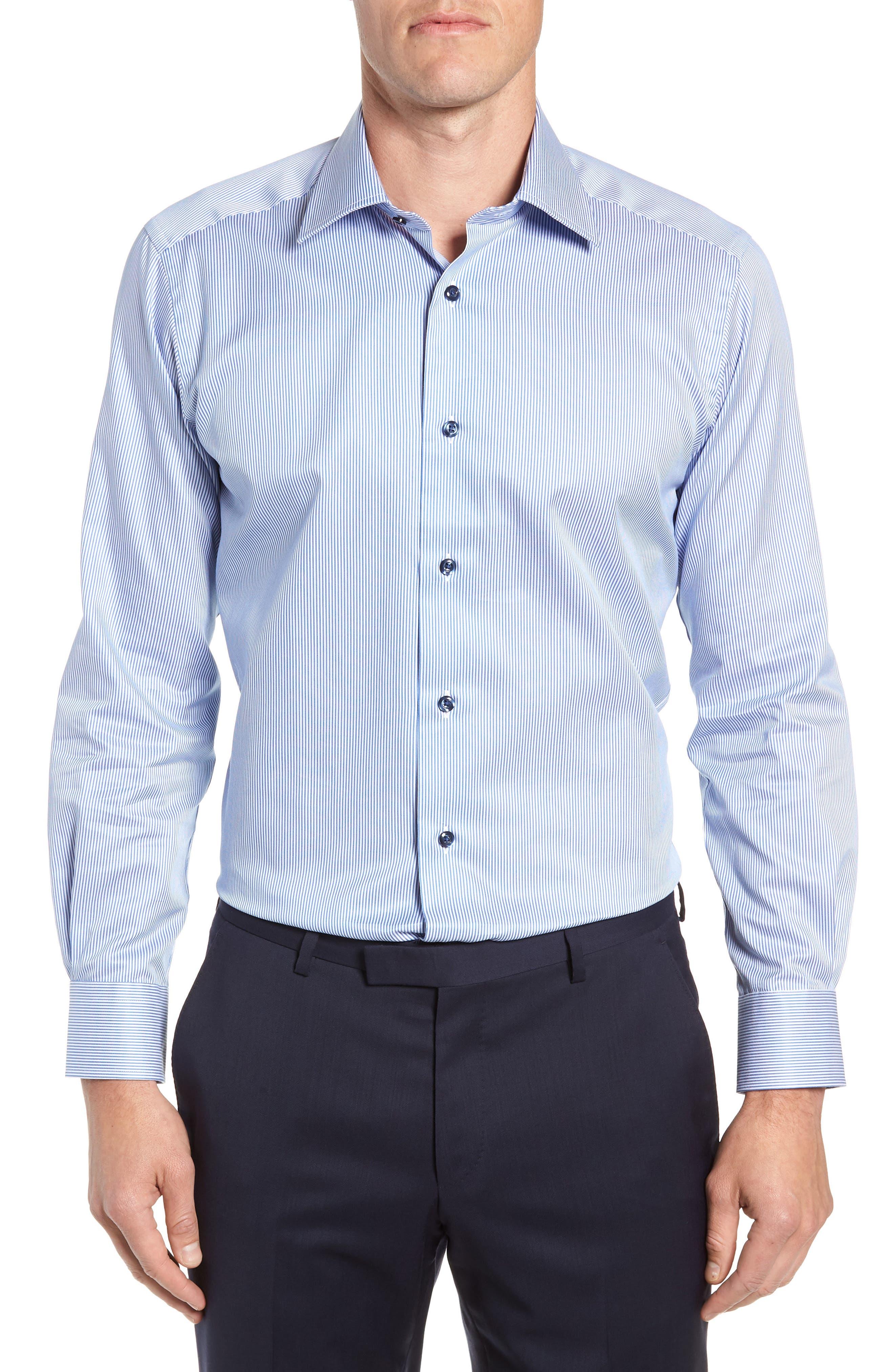 Trim Fit Stripe Dress Shirt,                         Main,                         color, BLUE